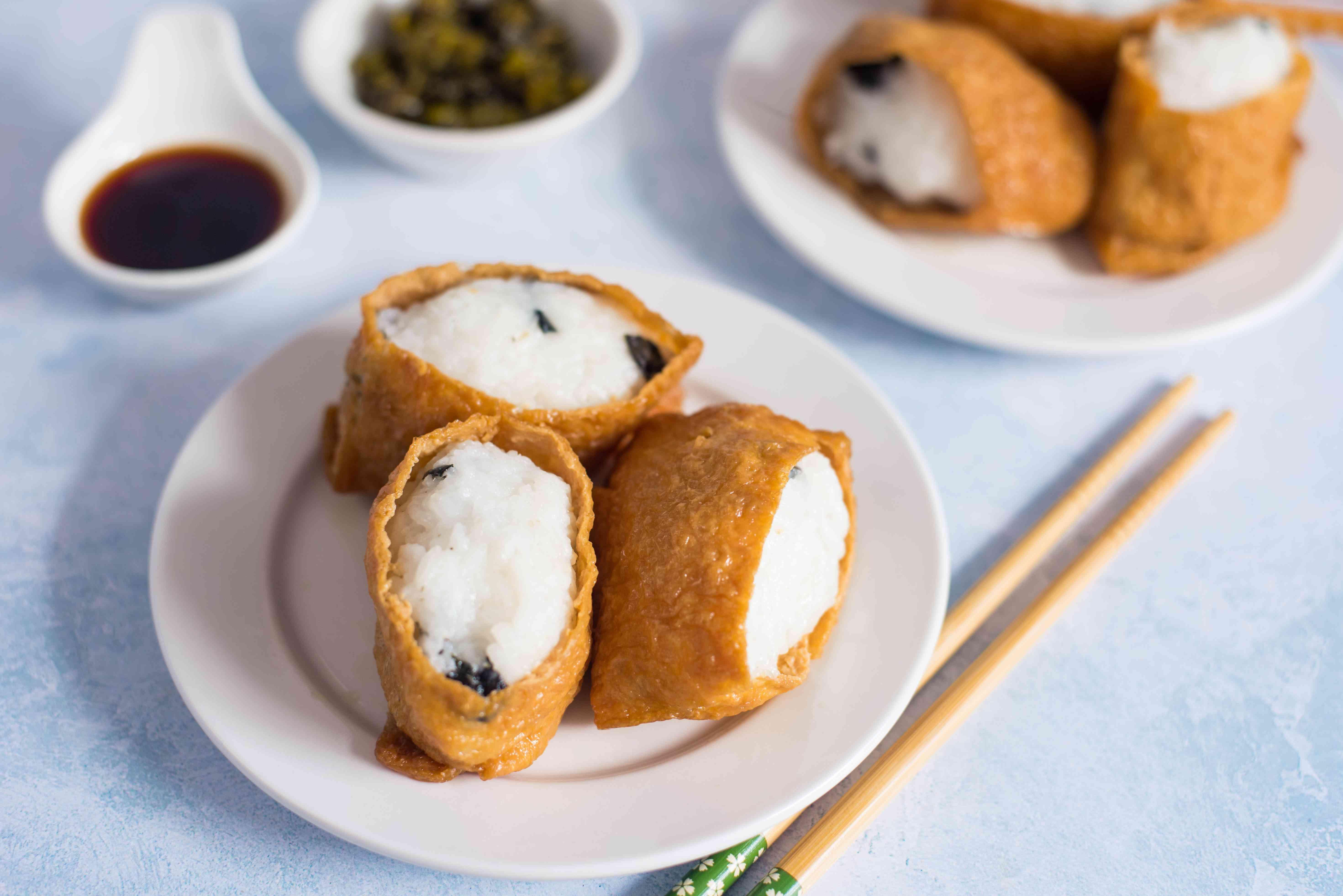 Rice stuffed tofu pockets recipe