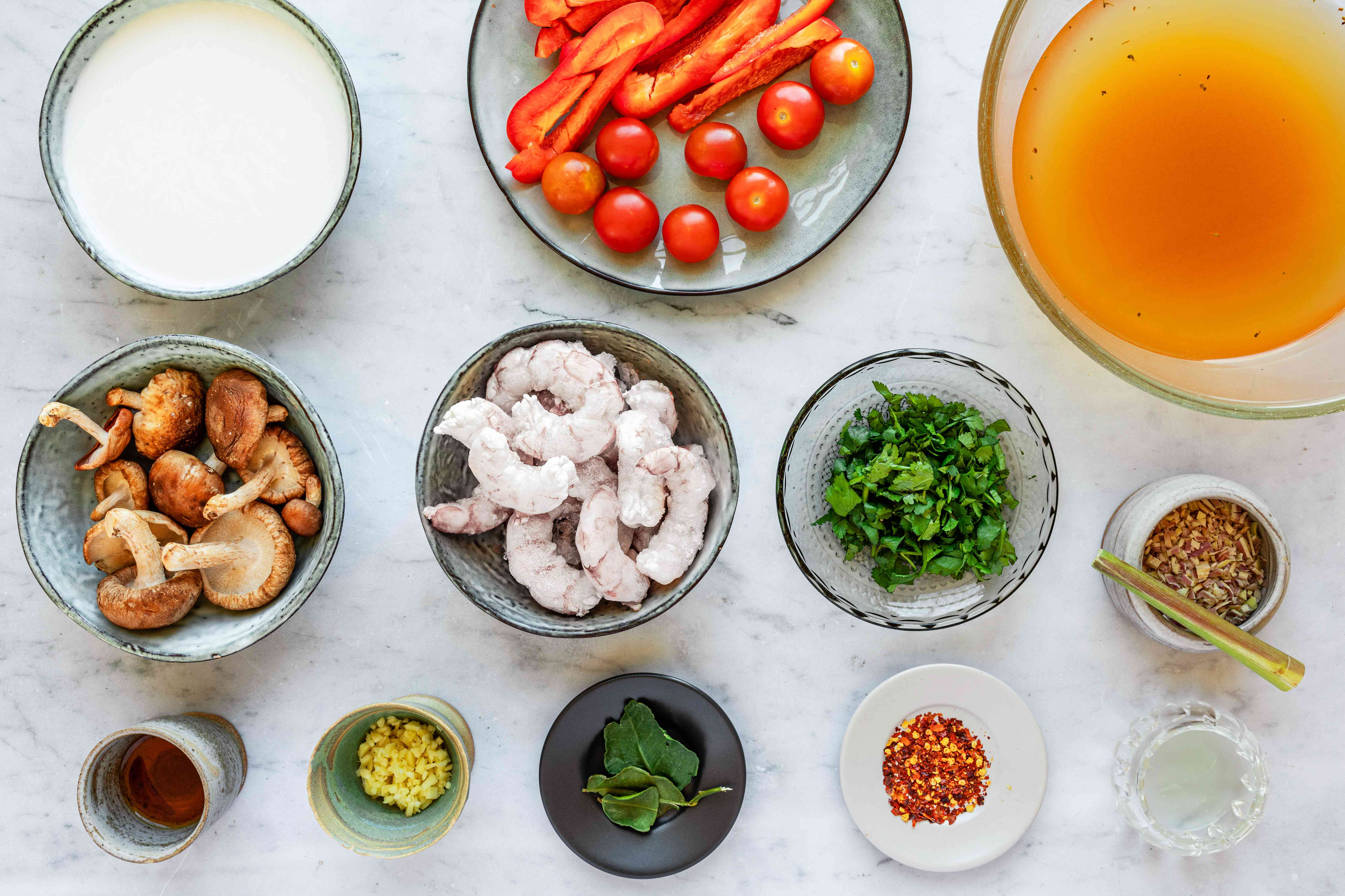Ingredients for easy tom yum soup