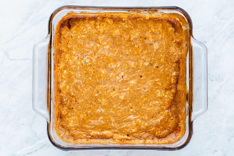 Buffalo Chicken Dip Recipe in a baking dish