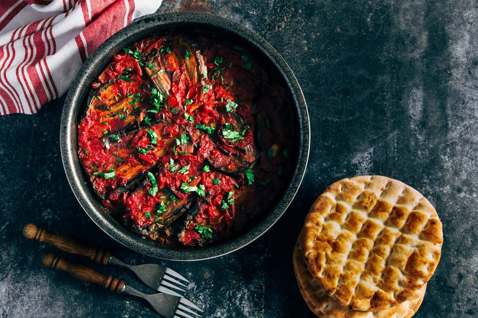 Moroccan zaalouk - eggplant and tomato cooked salad