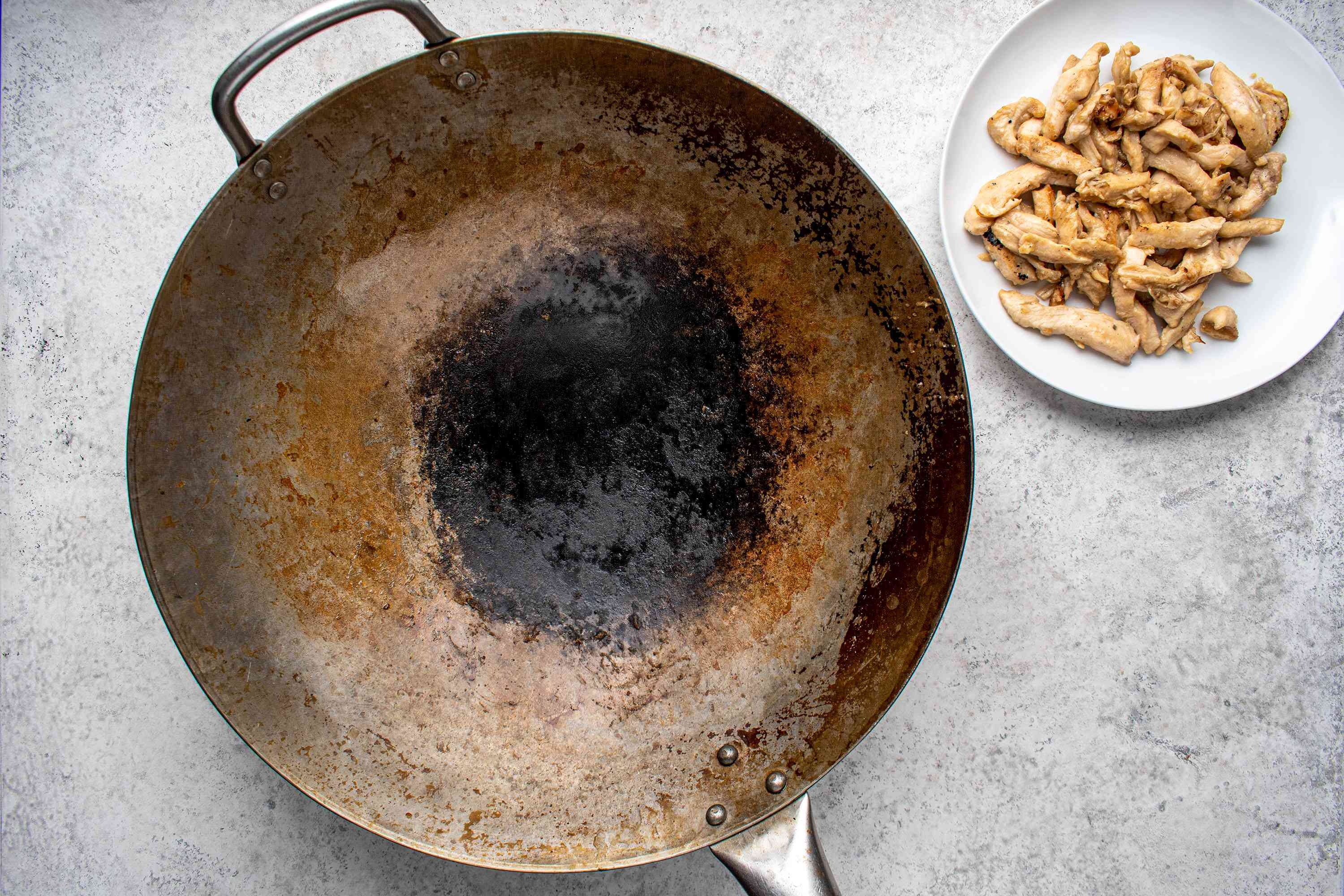 chicken removed from wok