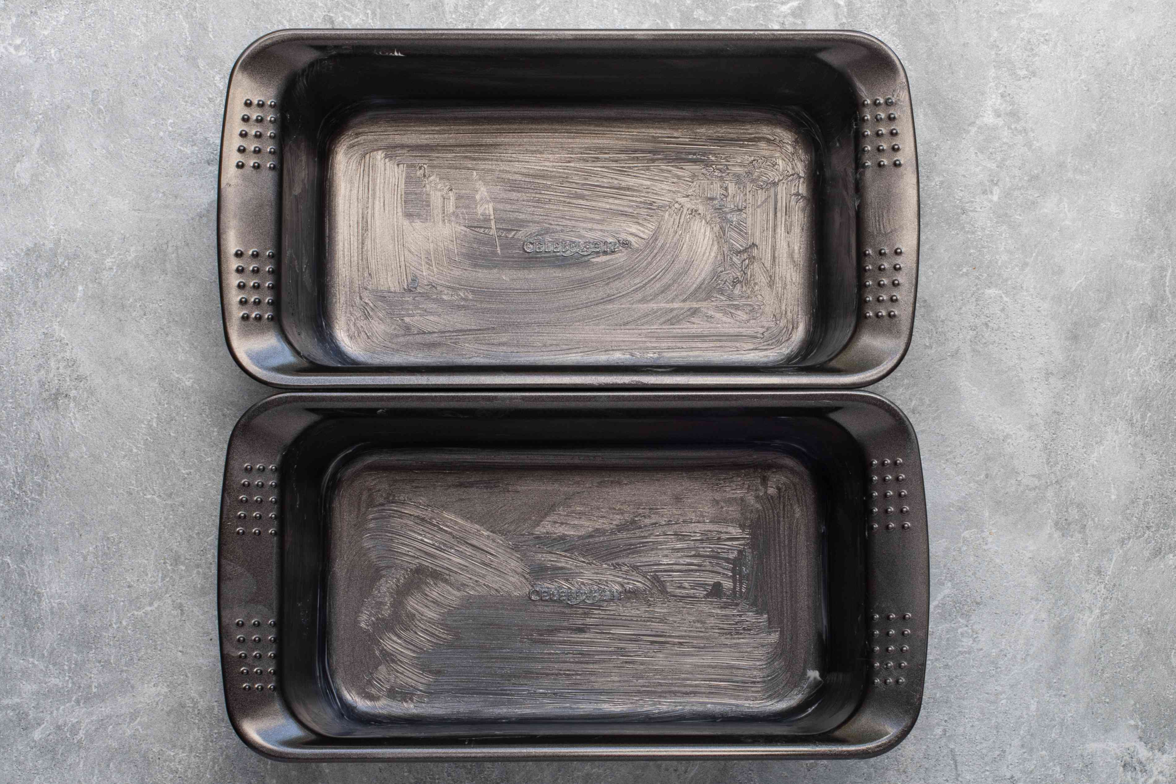 grease the loaf pans