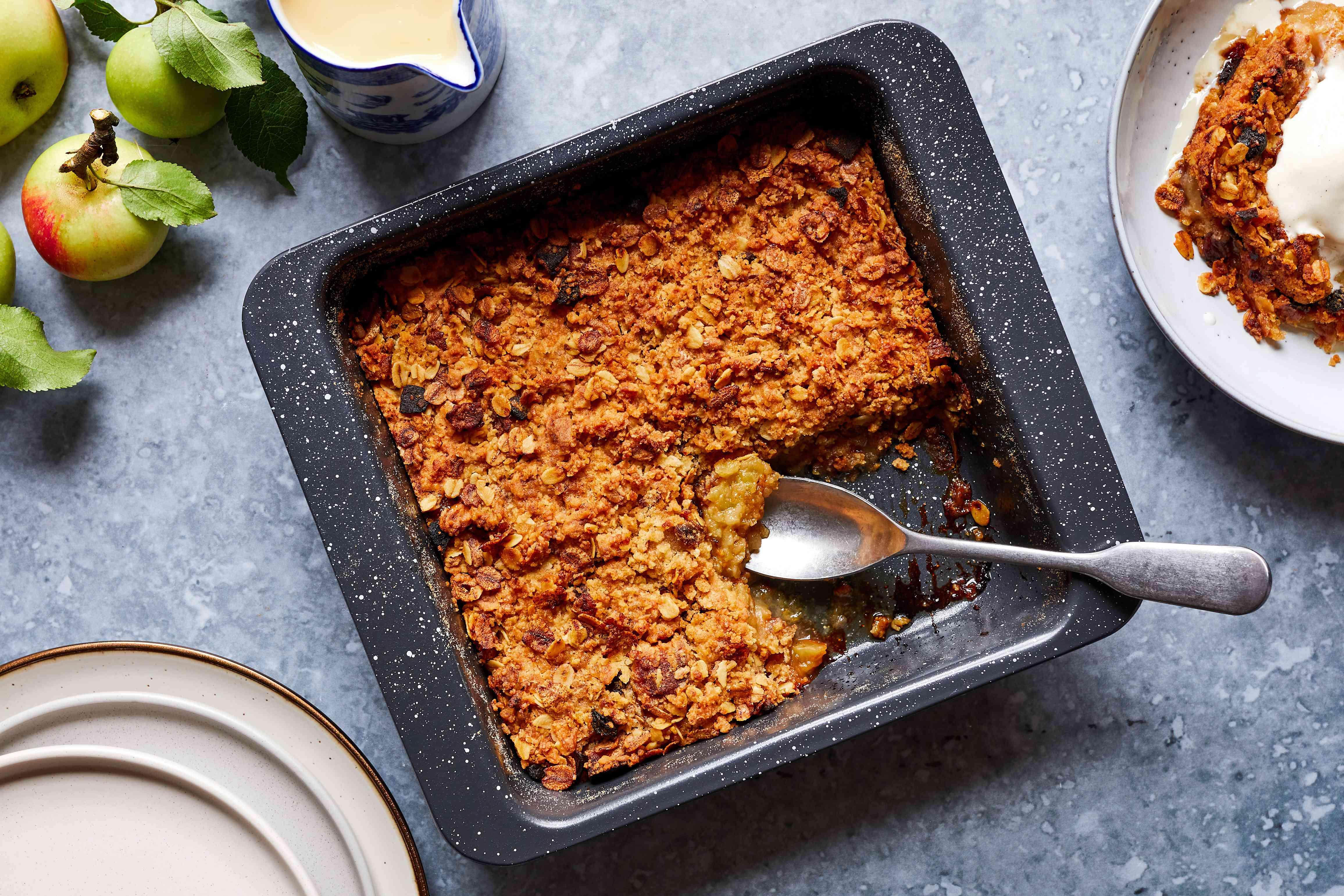 British oaty apple crumble in a baking dish