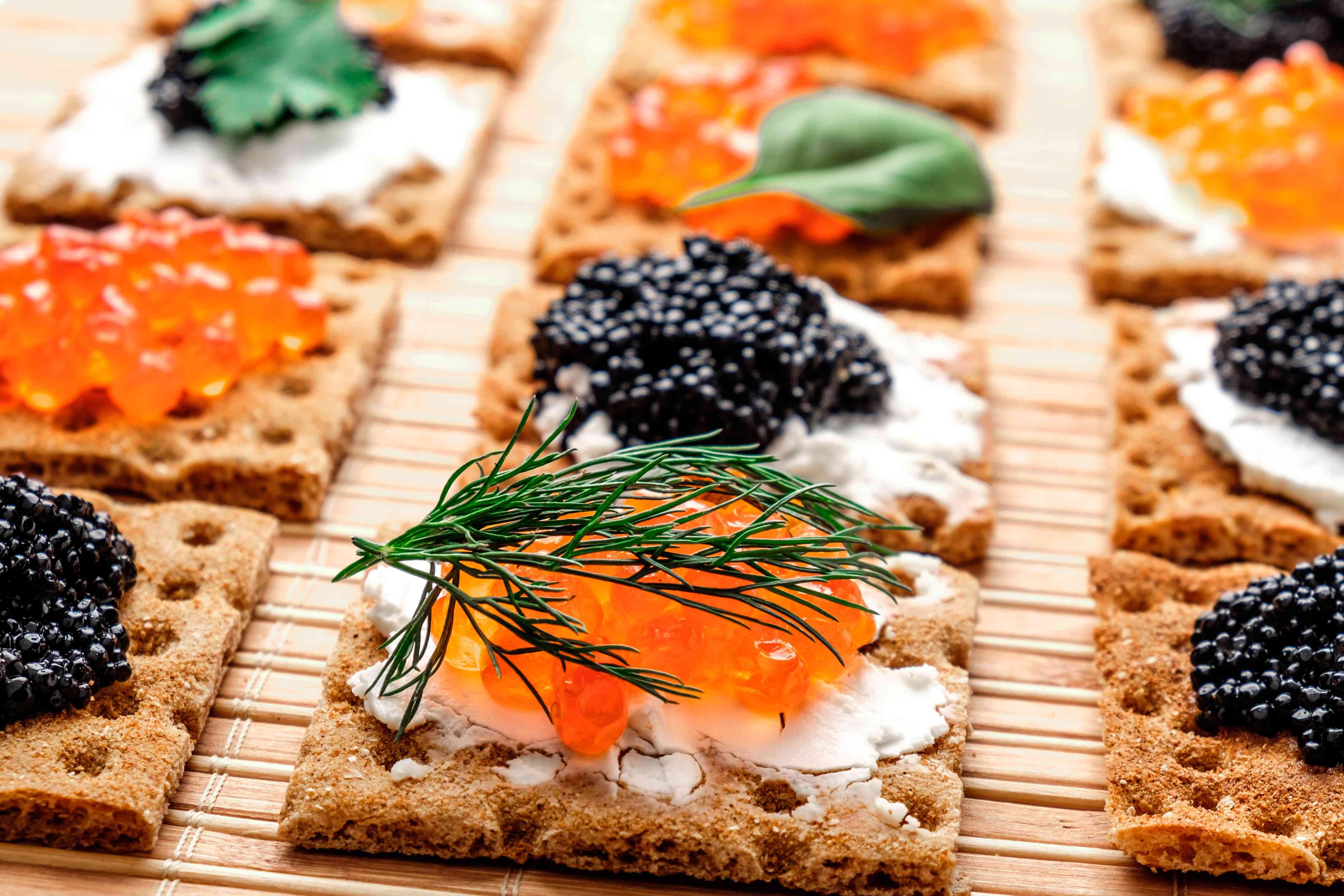 Snacks with caviar