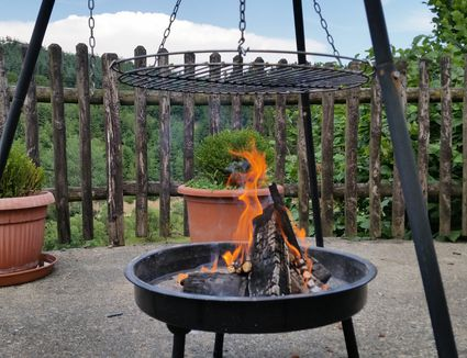 Burning fire pit in a back yard