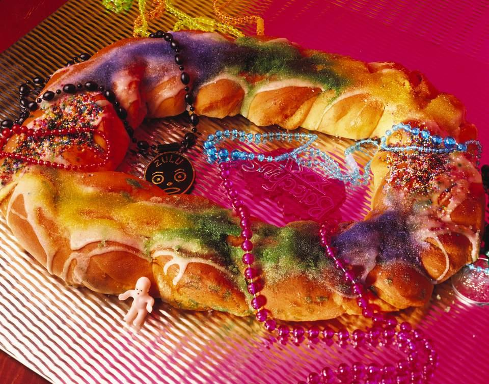 Pastel de Rey Vegano para Receta de Mardi Gras