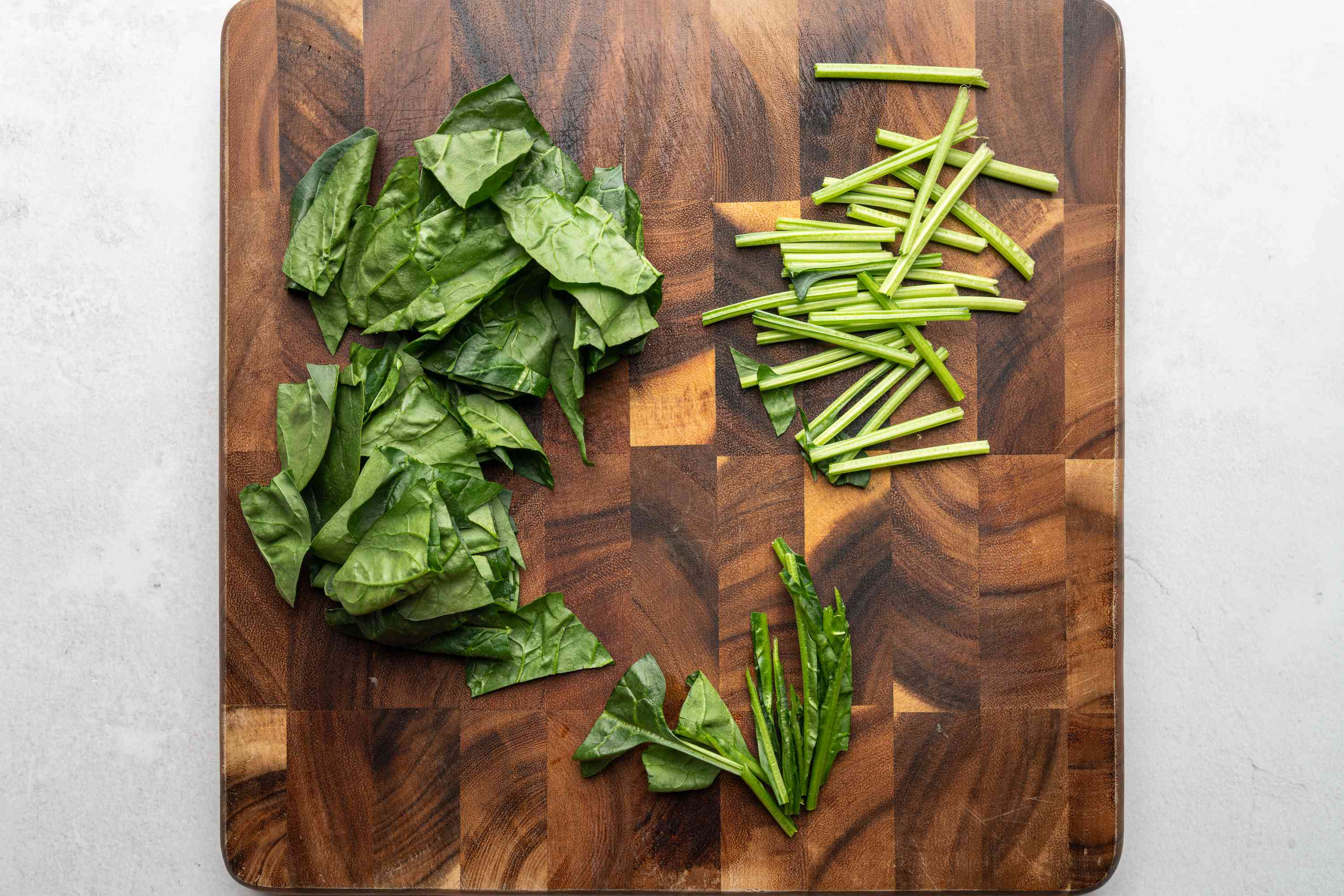 Cut the spinach into two-inch lengths