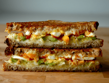 Avocado and Soft-Boiled Egg grilled Cheese with Sriracha