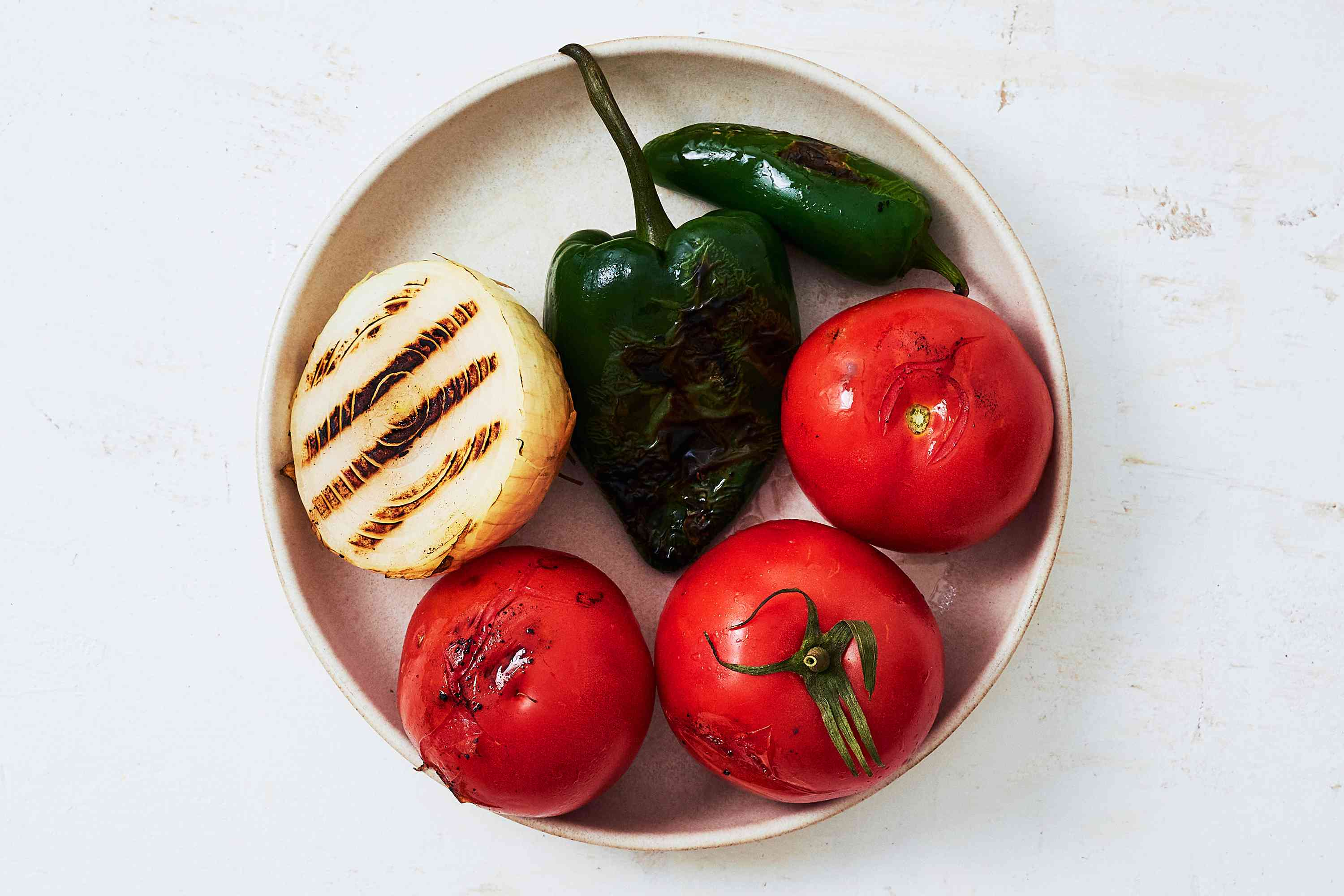 grilled vegetables on the plate