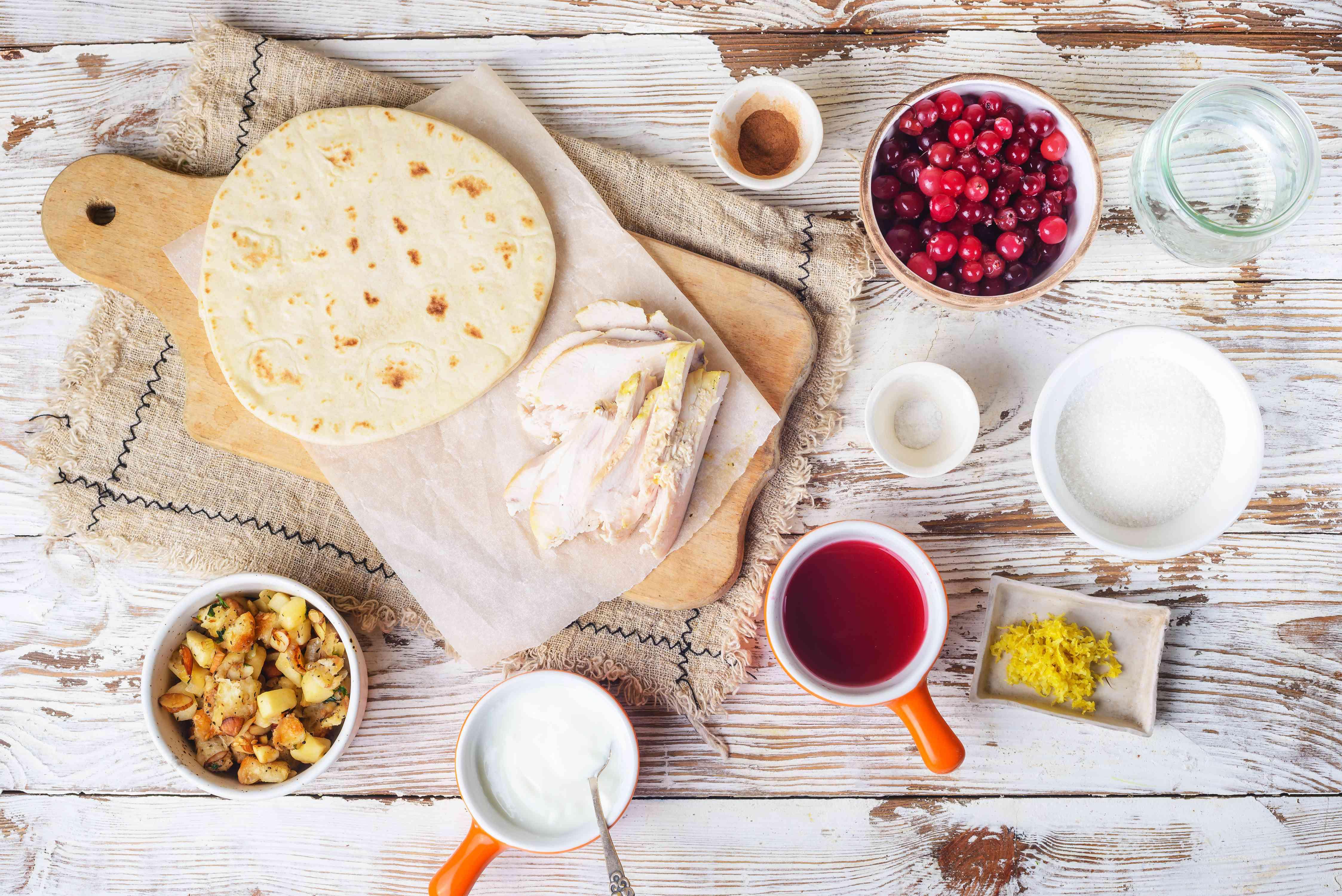 Ingredients for Thanksgiving leftovers pita
