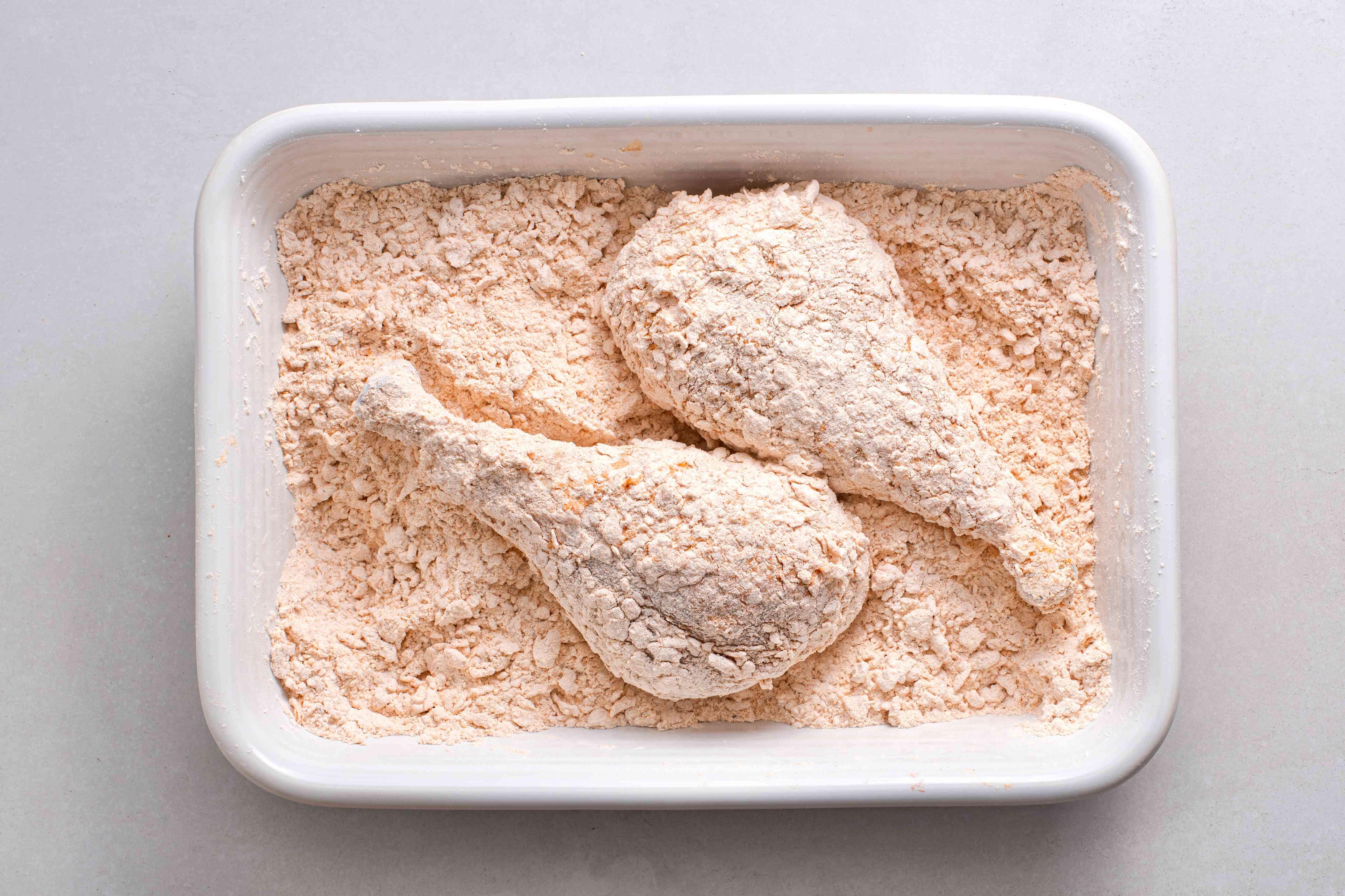 turkey in the seasoned flour mixture