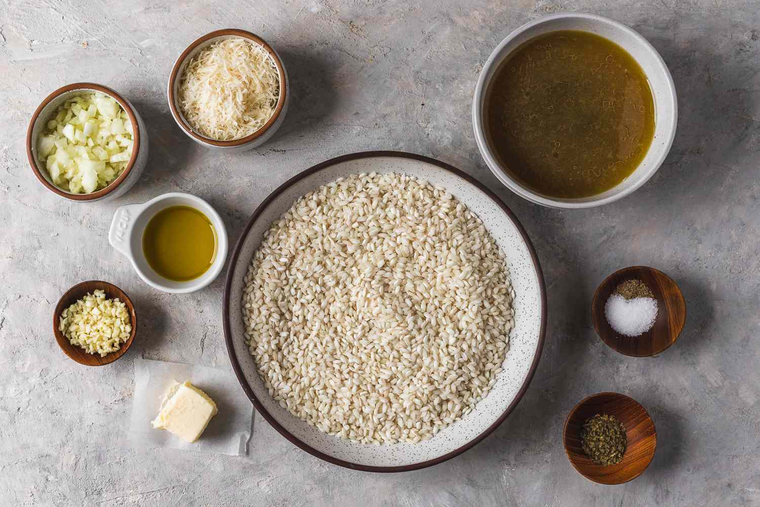 Ingredients for easy baked risotto