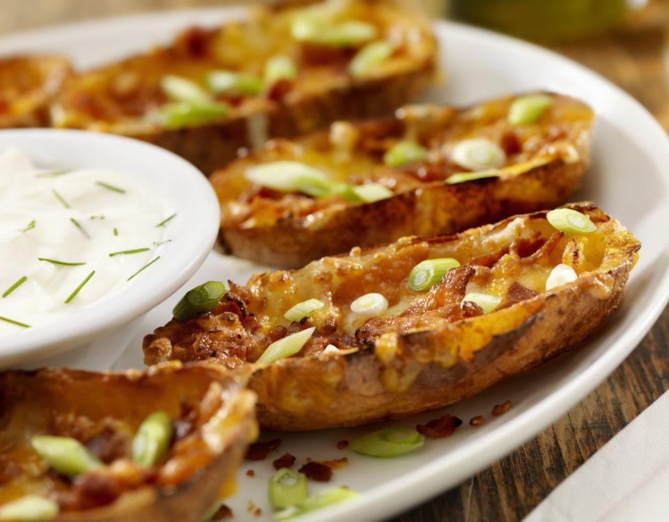 Cheesy Stuffed Potato Skins With Vegetarian Bacon Bits