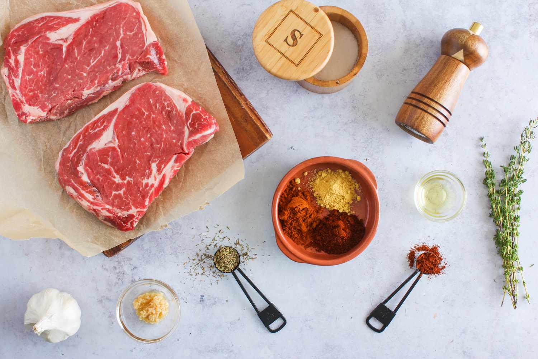 Grilled rib eye steaks ingredients