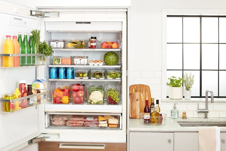 fridge organized using The Spruce and Lowe's organization bins