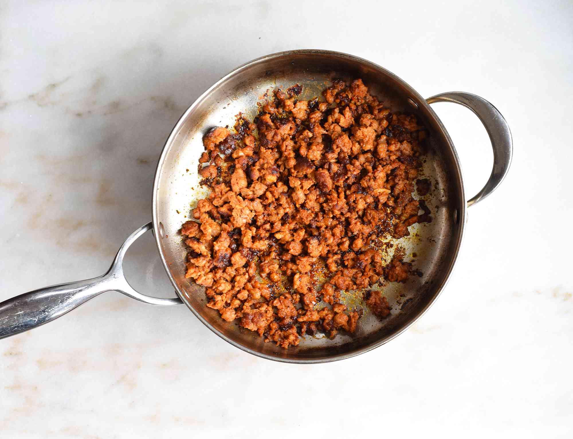 browned chorizo in a saute pan