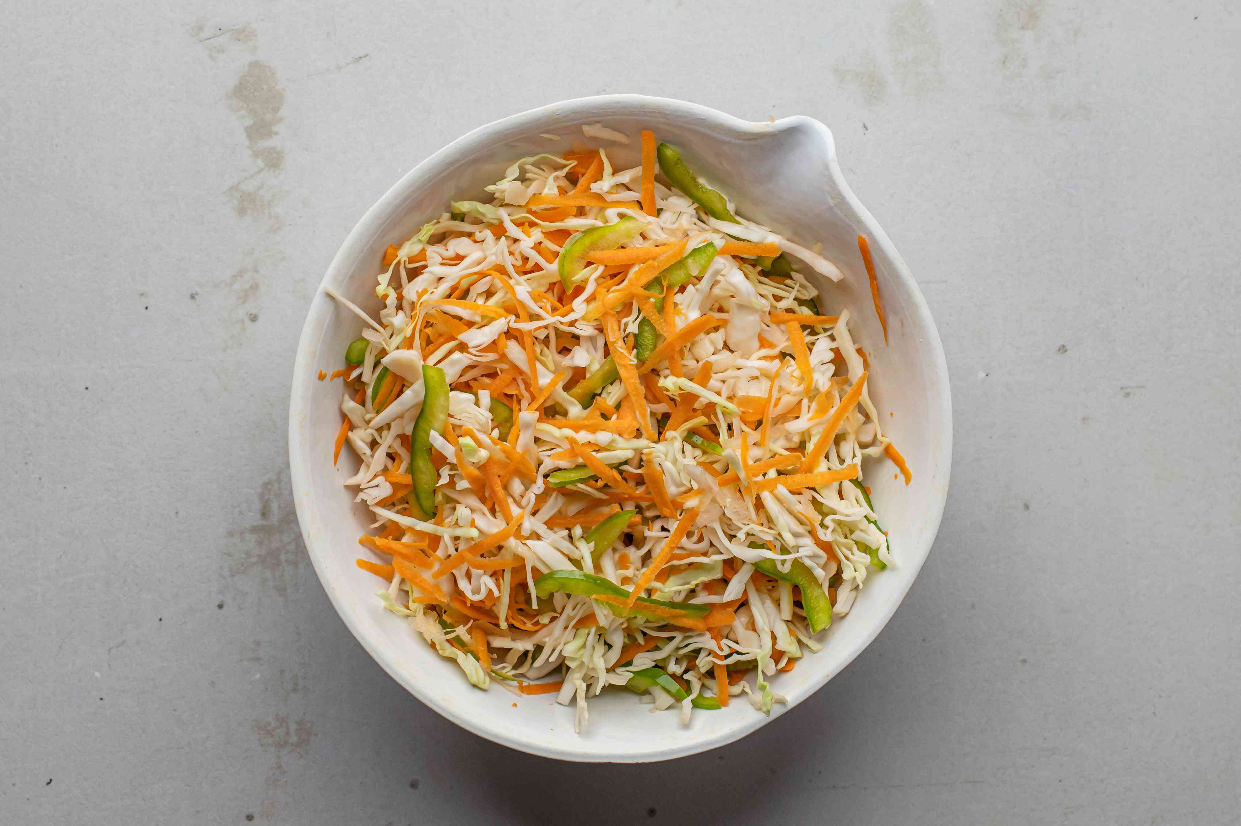 Toss the shredded cabbage