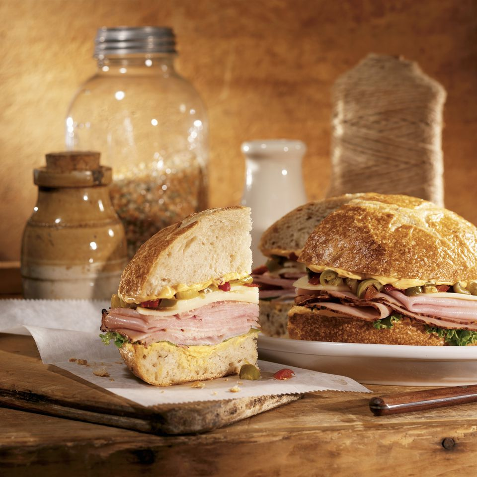 Muffuletta with olive spread