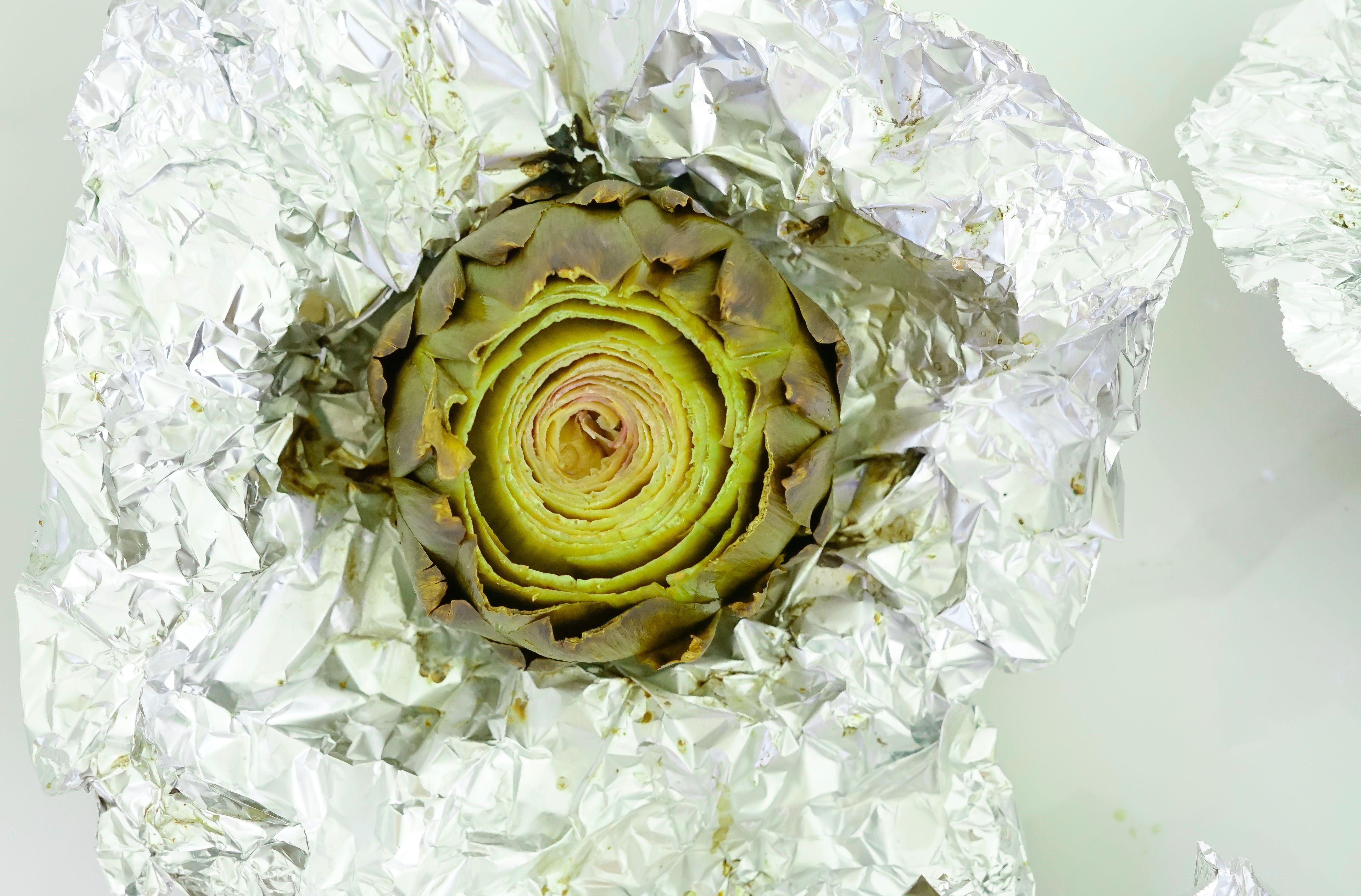 Foil-roasted artichoke.