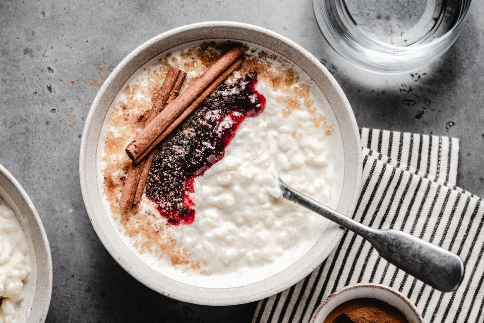 rice pudding with garnishes overhead shot