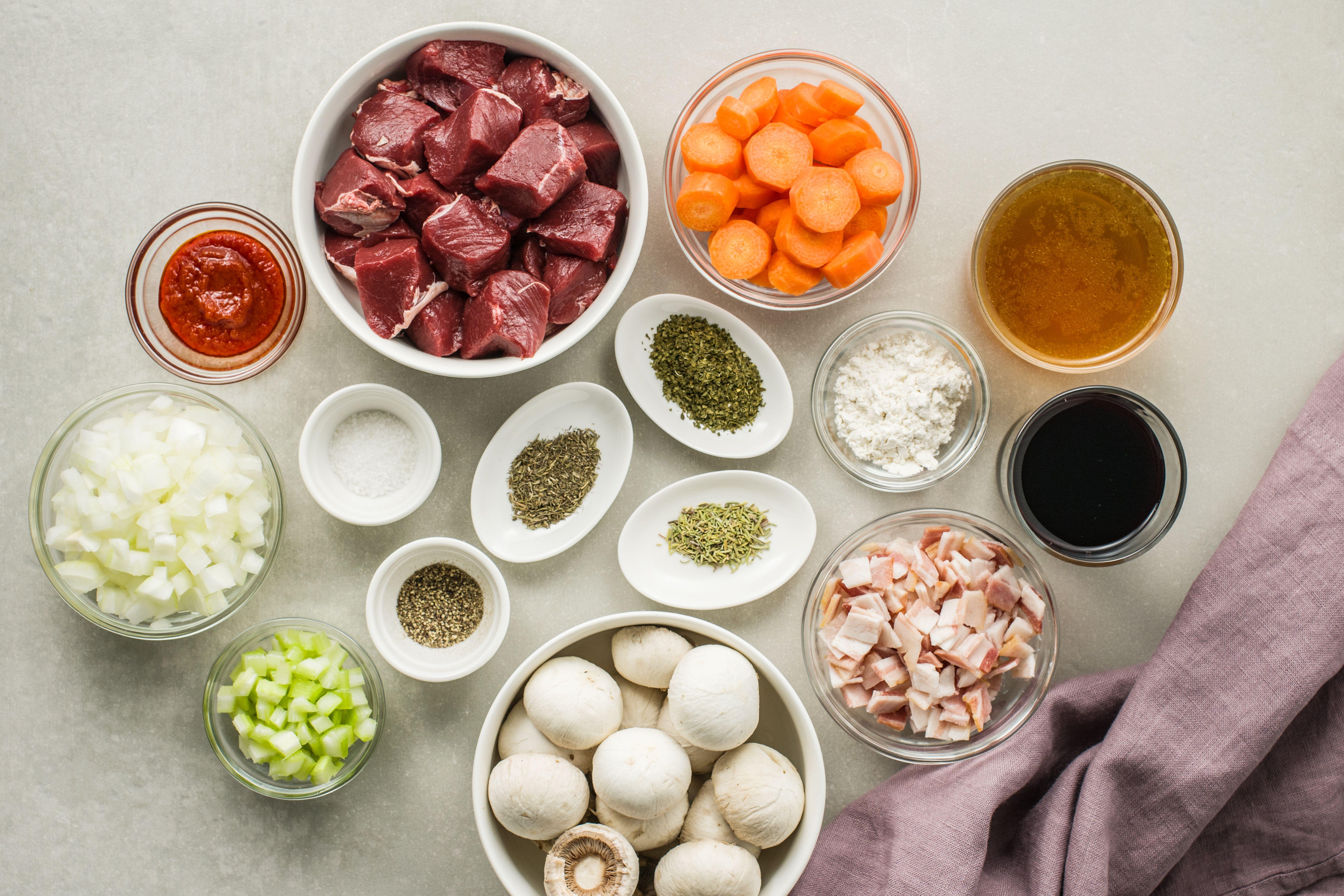 Ingredients for venison stew