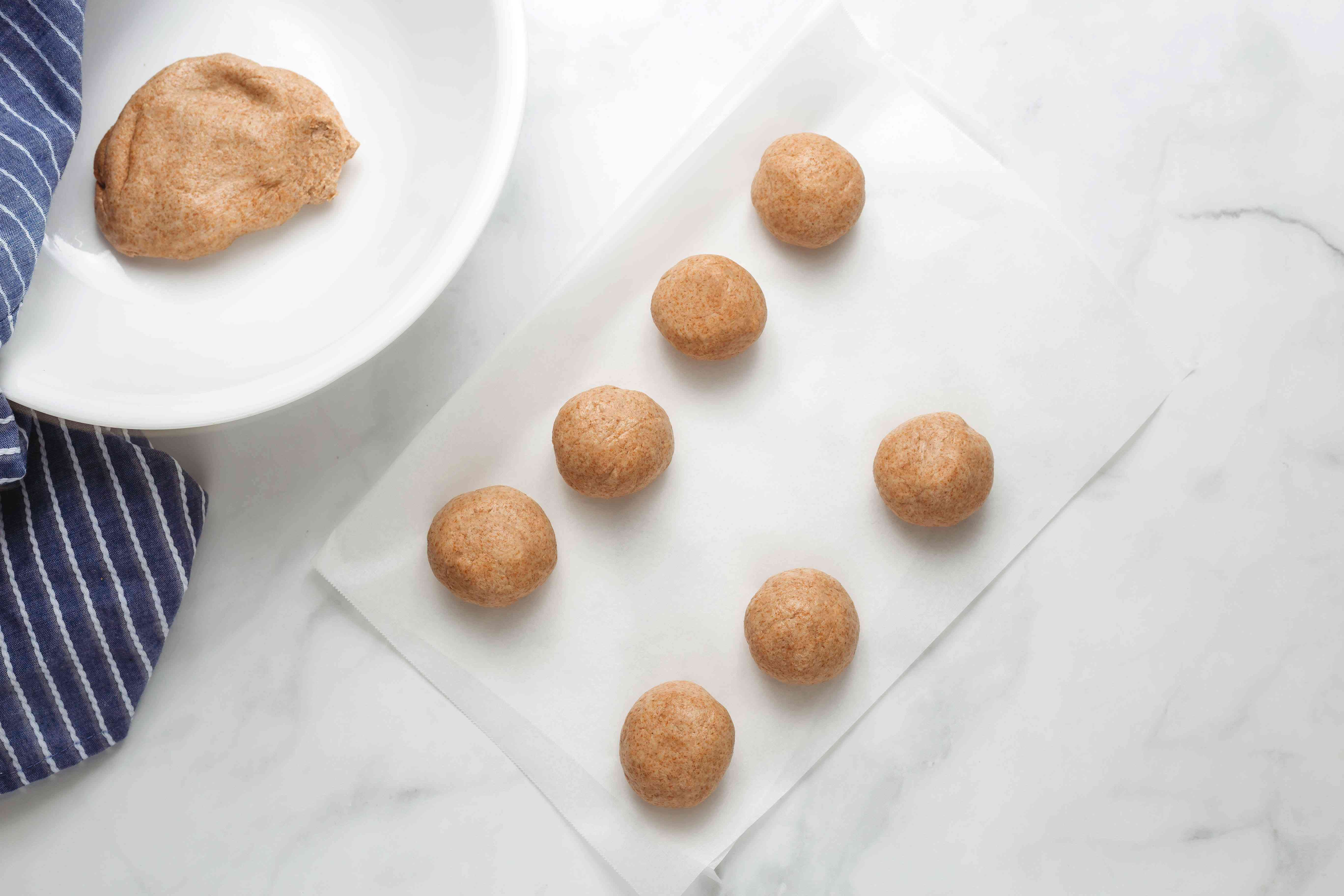 Wheat flour dough balls
