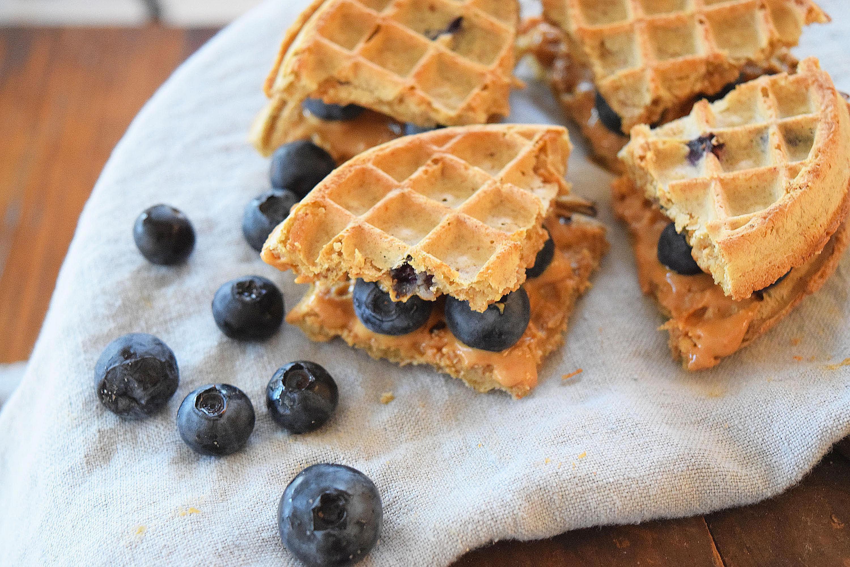 Peanut butter jelly breakfast waffle