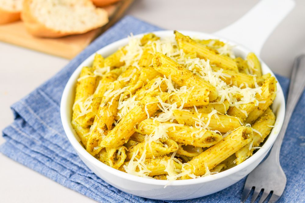 Homemade pesto pasta.