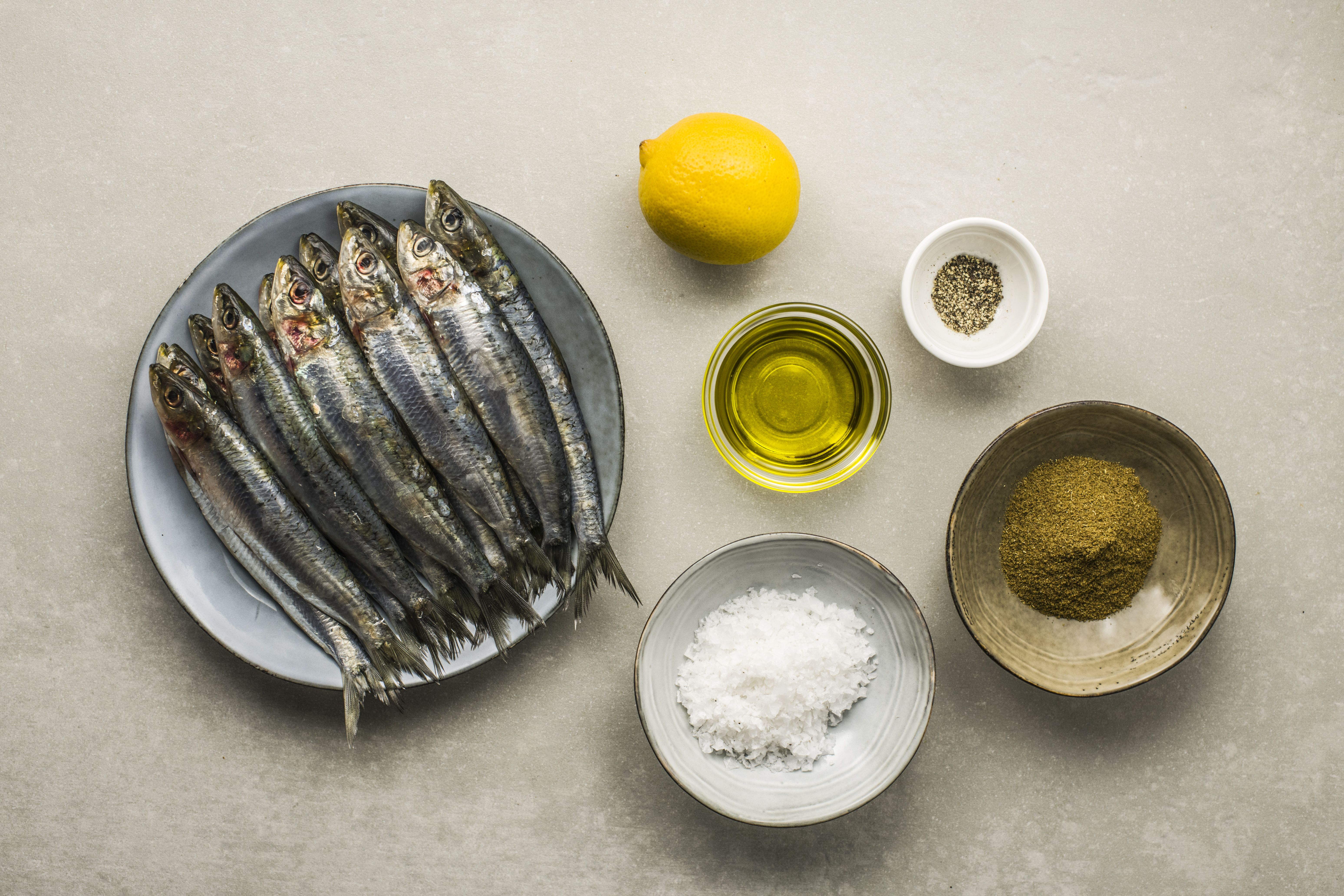 Ingredients for Moroccan baked sardines