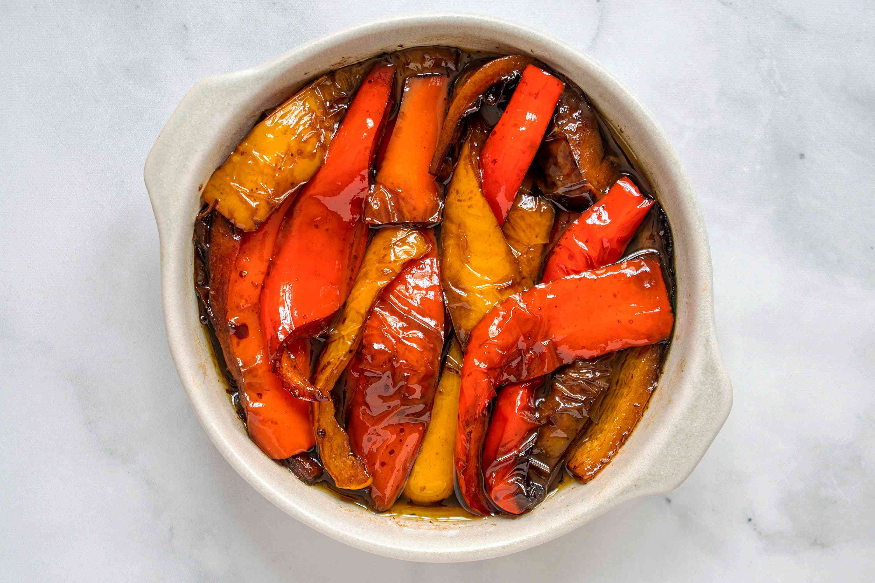 Balsamic Peppers Side Dish in a serving dish