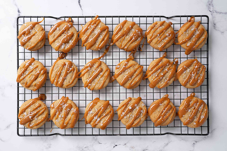 Salted caramel cookies sprinkled with salt