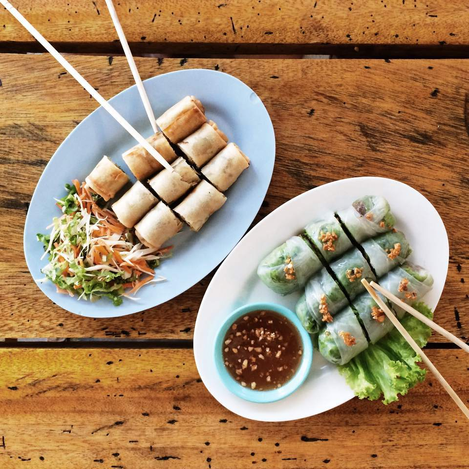 Egg and spring rolls