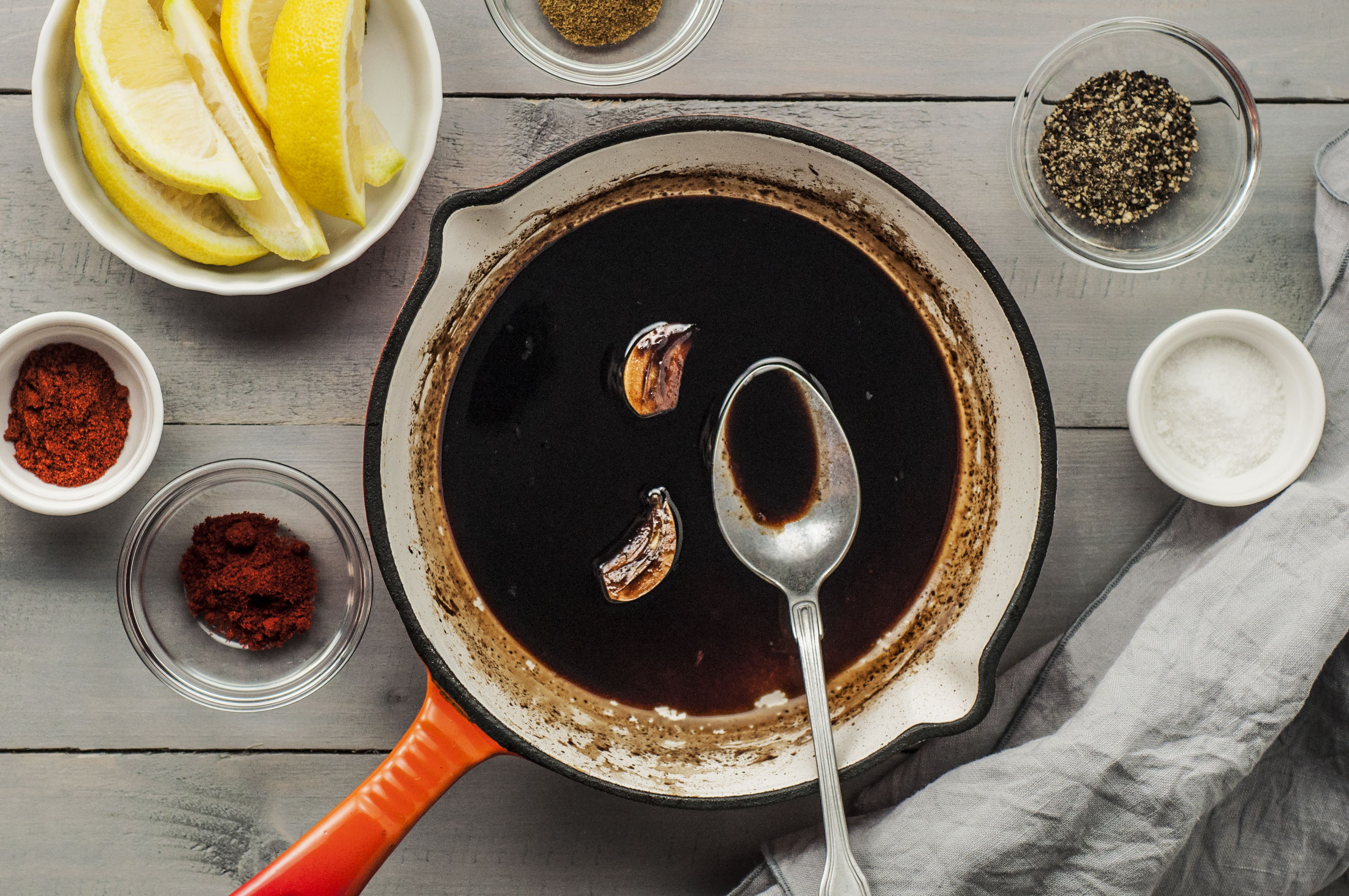 Reduced balsamic reduction in a saucepan