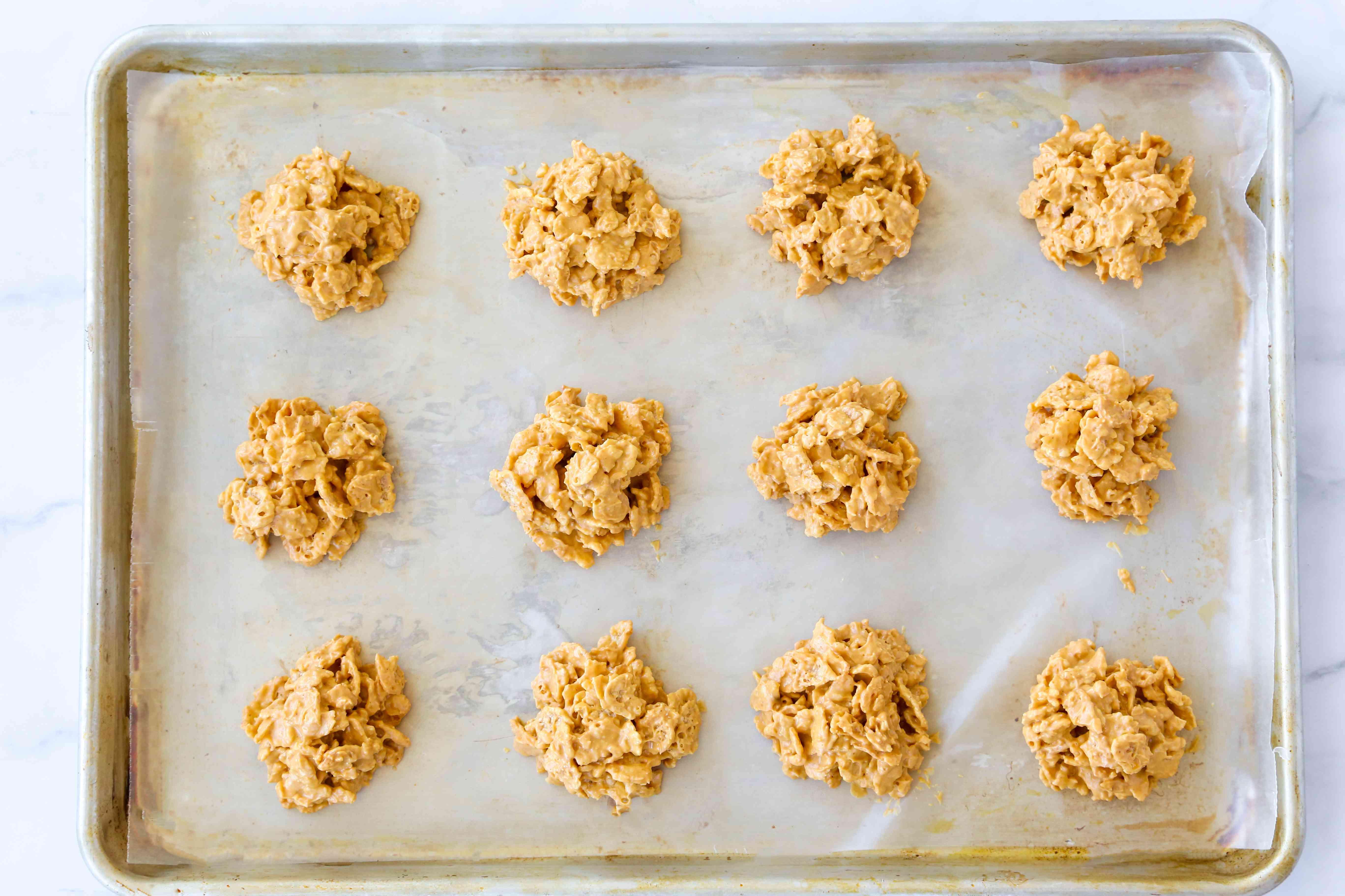 Cornflake Cookies on a baking sheet