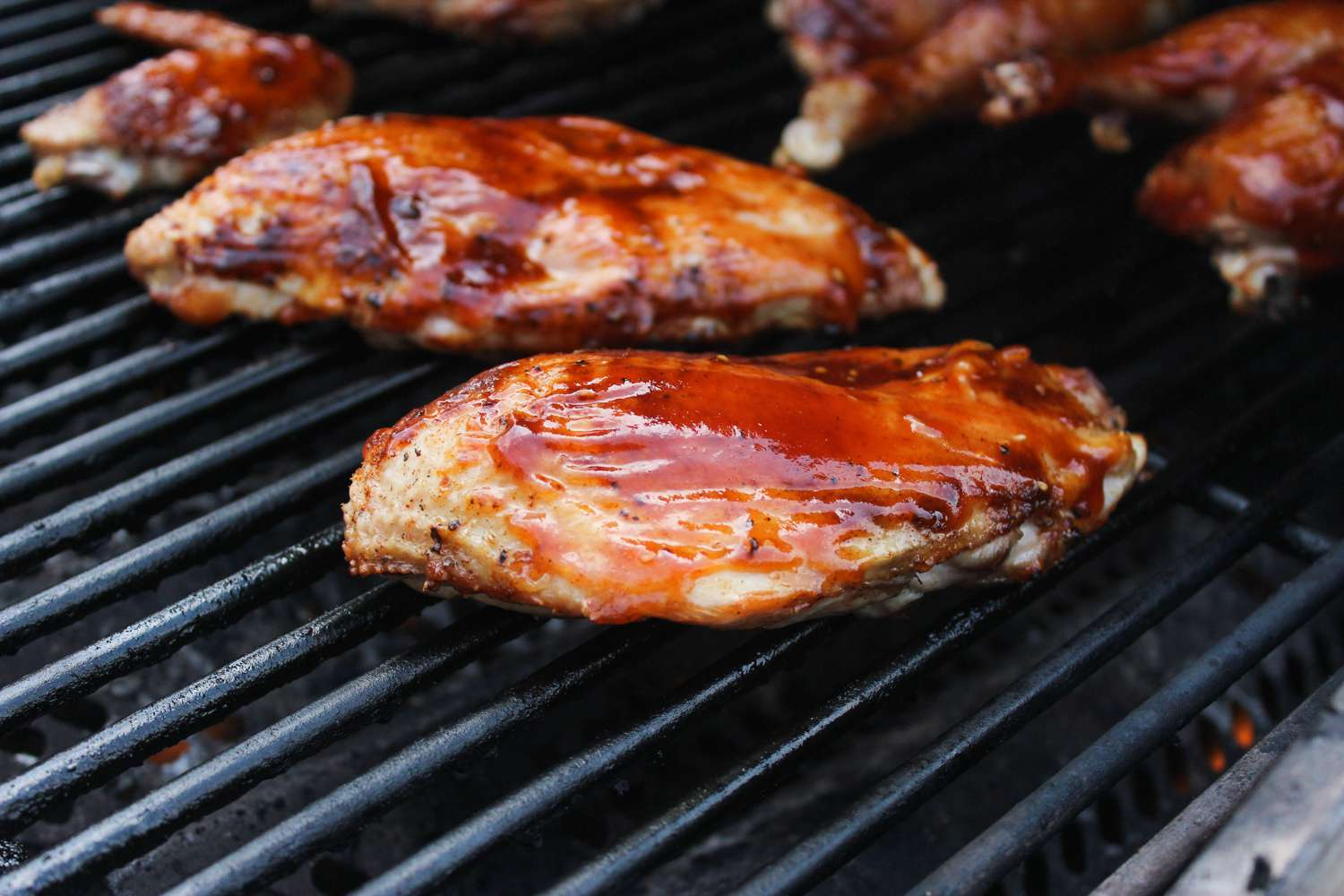Cook and baste with barbecue sauce