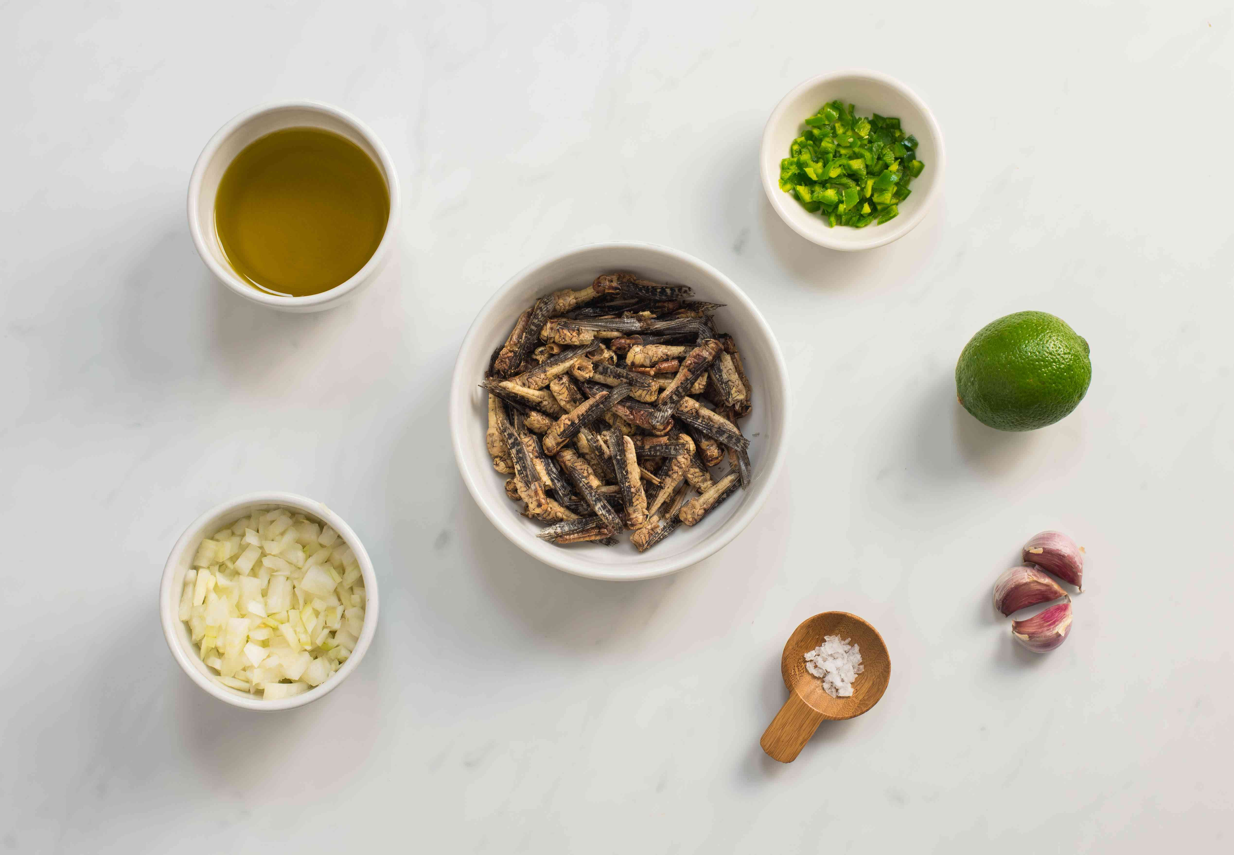 Ingredients for chapulines Mexican grasshoppers