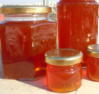 Prickly pear jelly in jars