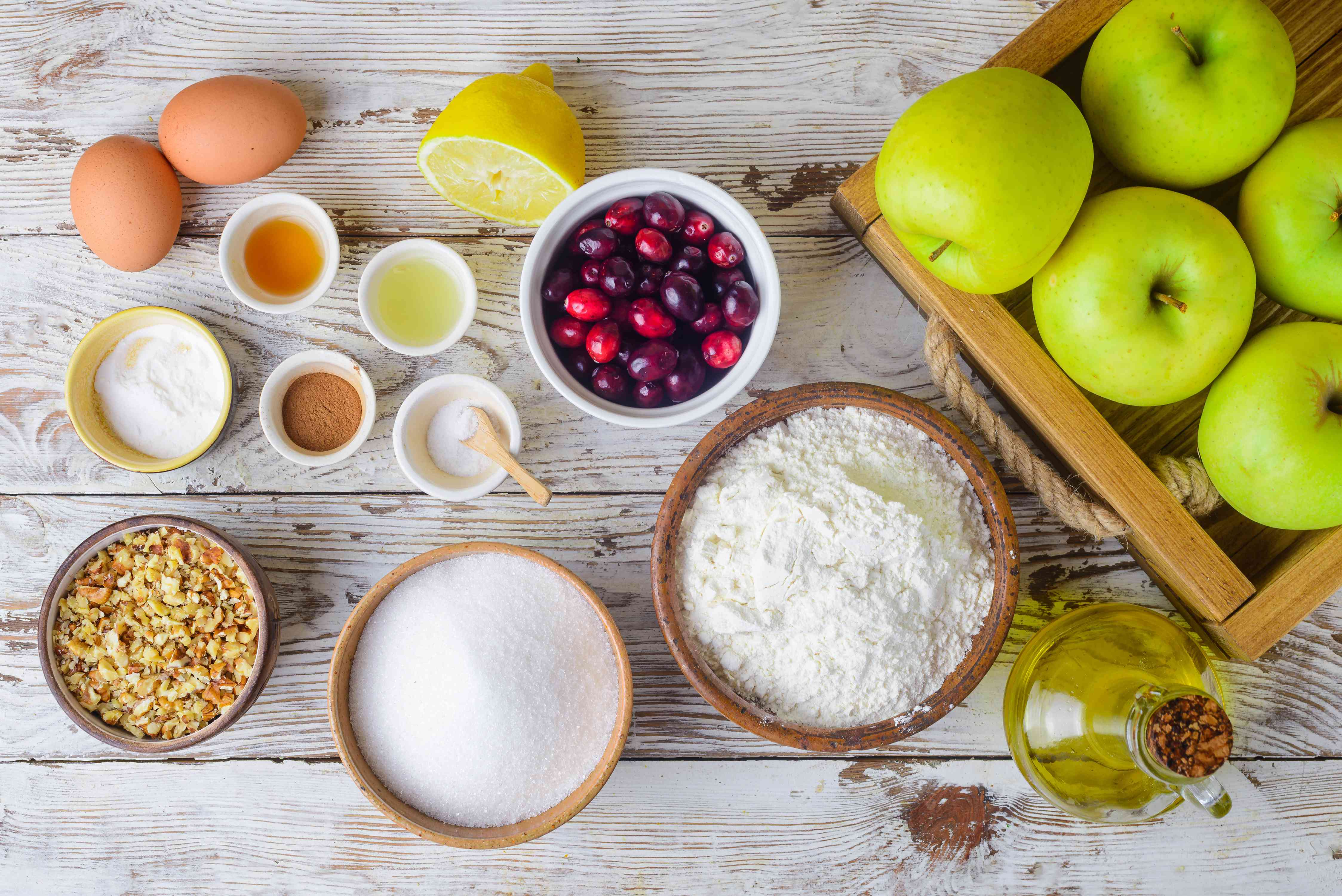 Ingredients for fresh apple cranberry cake