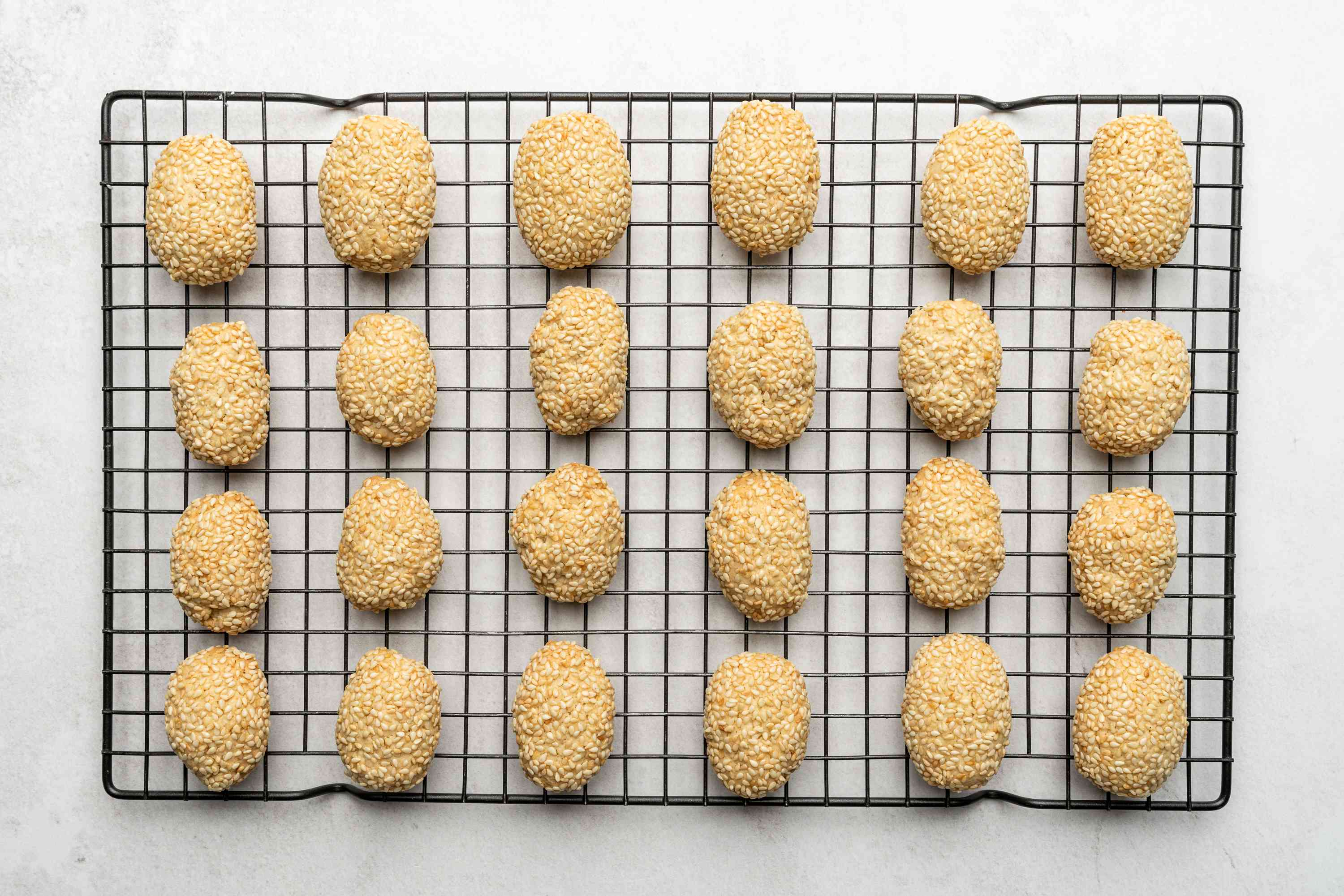 Toasted Sesame Seed Cookies on a cooling rack