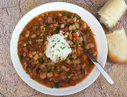 Bean soup in a bowl.