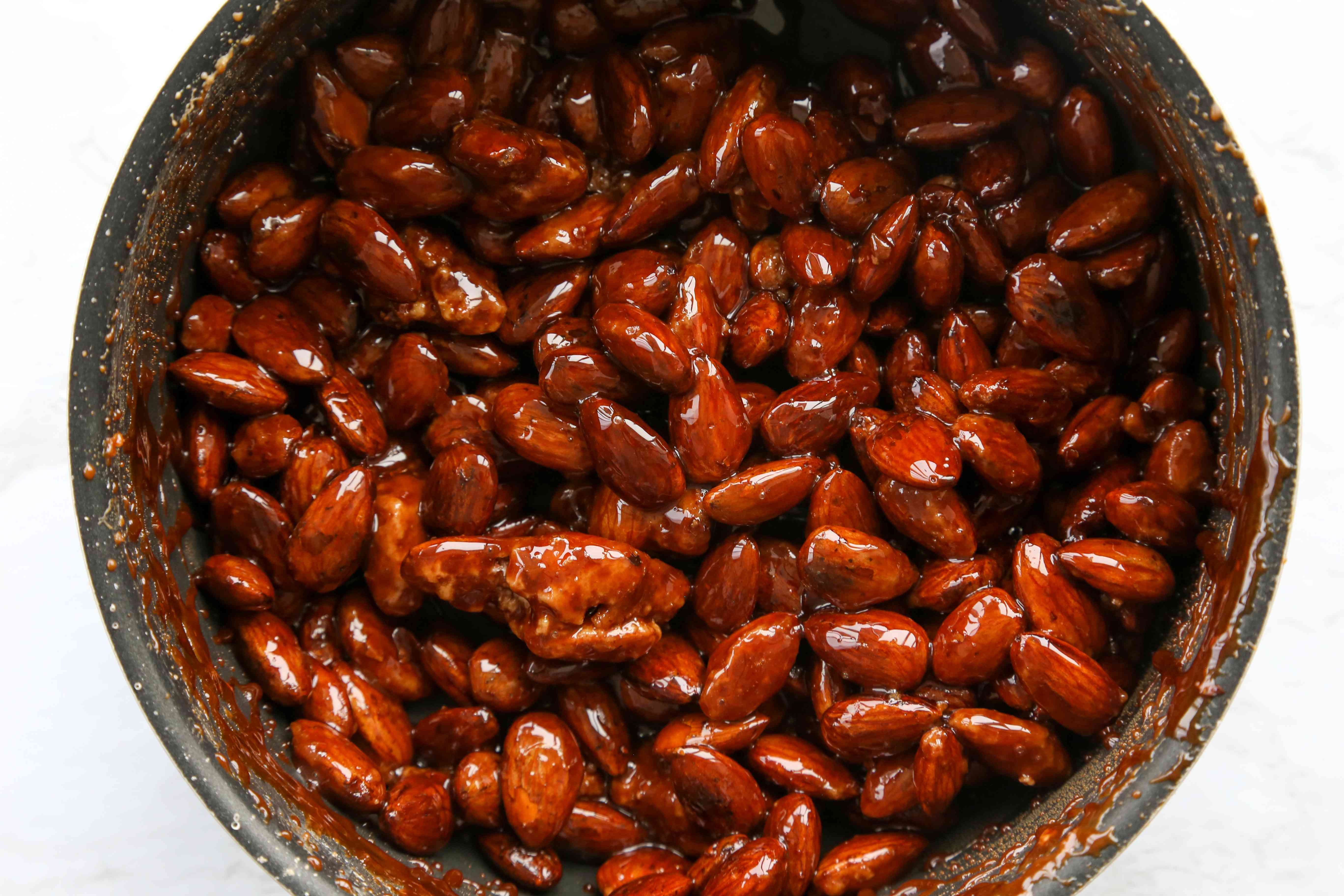 candied almonds in a pan