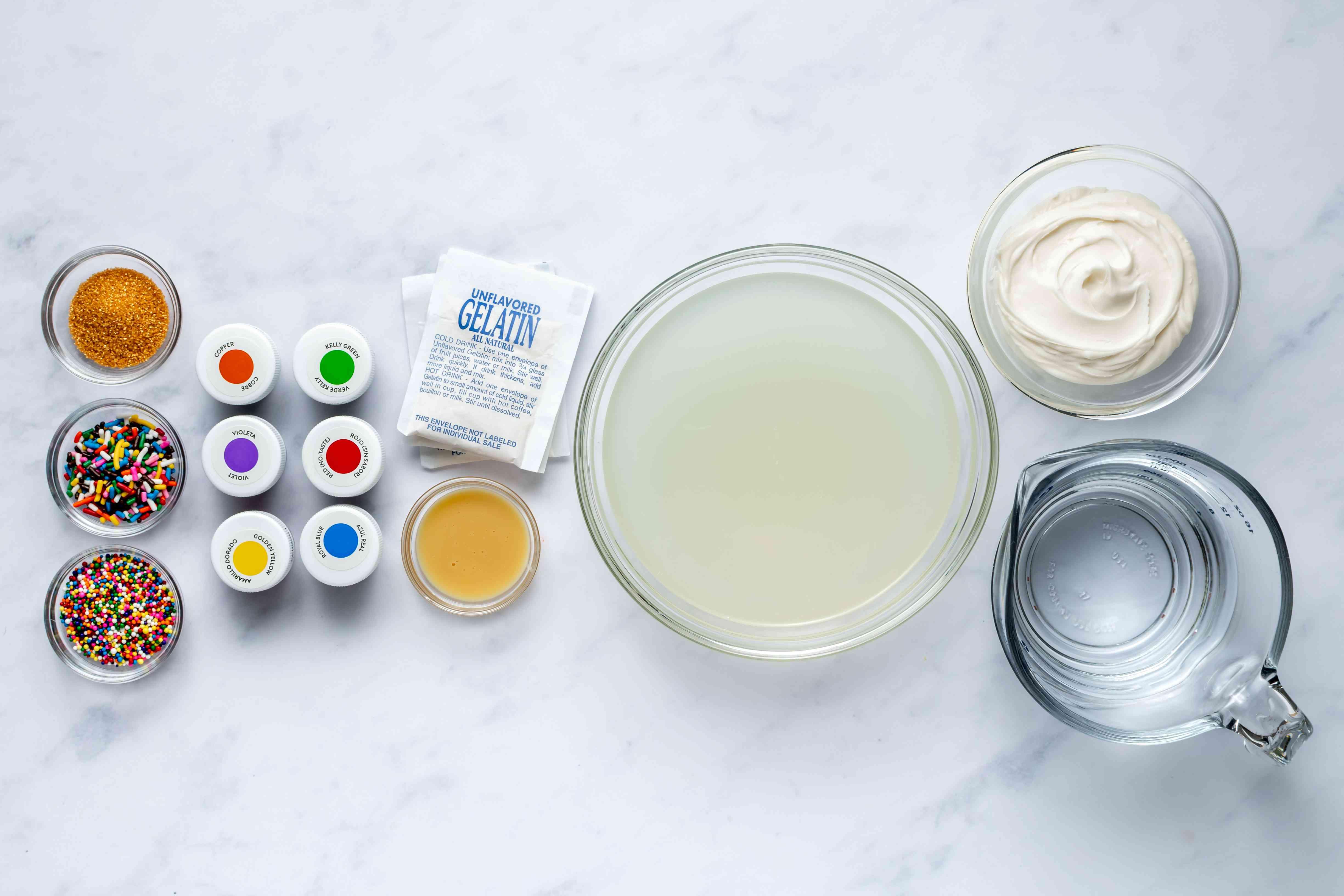 Rainbow Cake Jello Shots ingredients