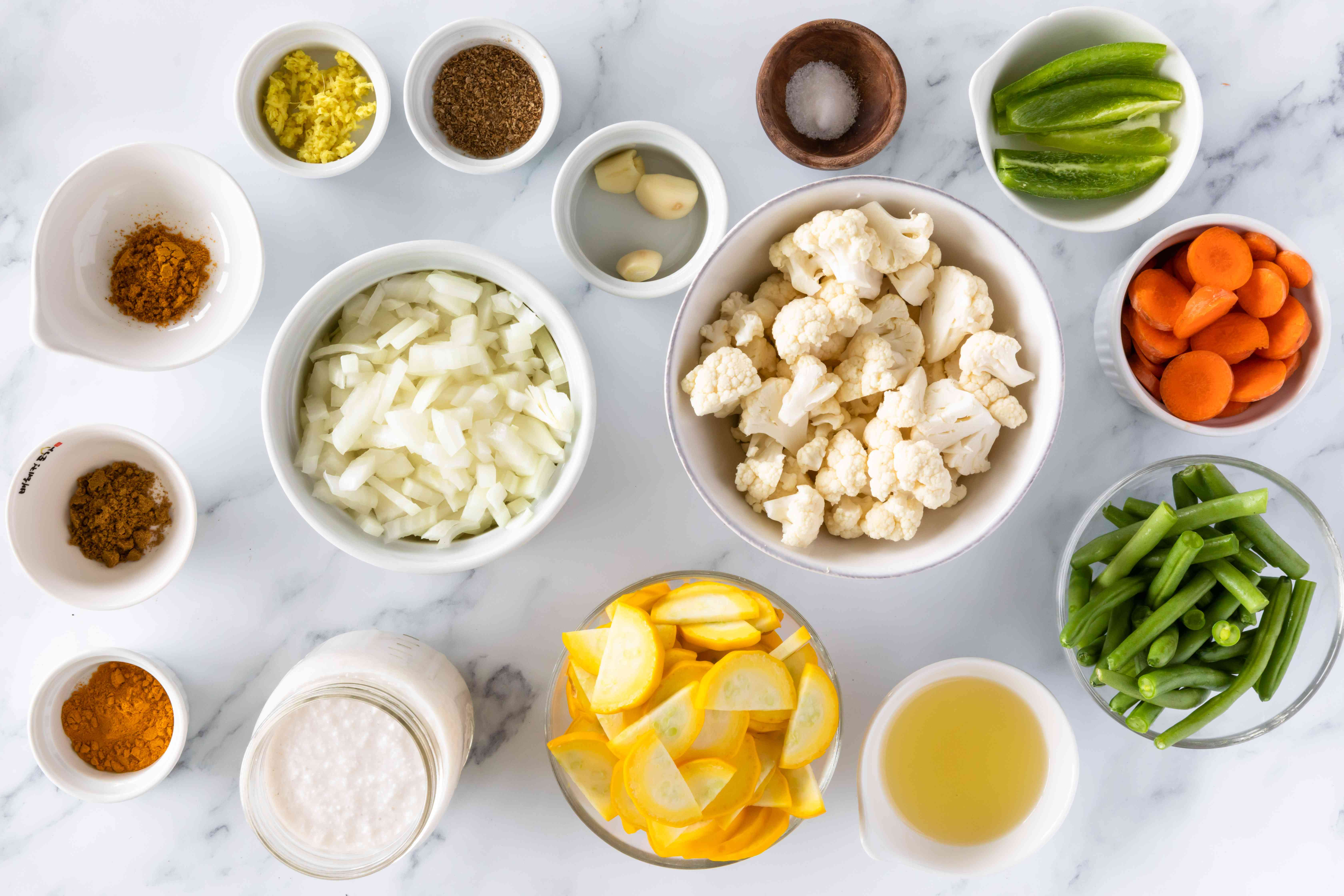 Gather ingredients for coconut curried vegetables