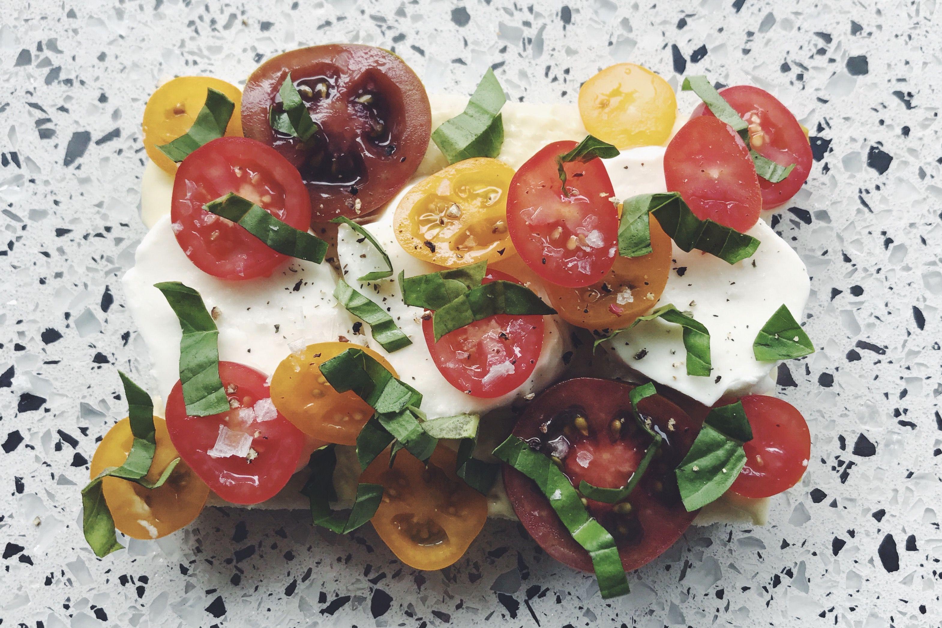 Tramezzini with Tomato, Mozzarella and fresh basil