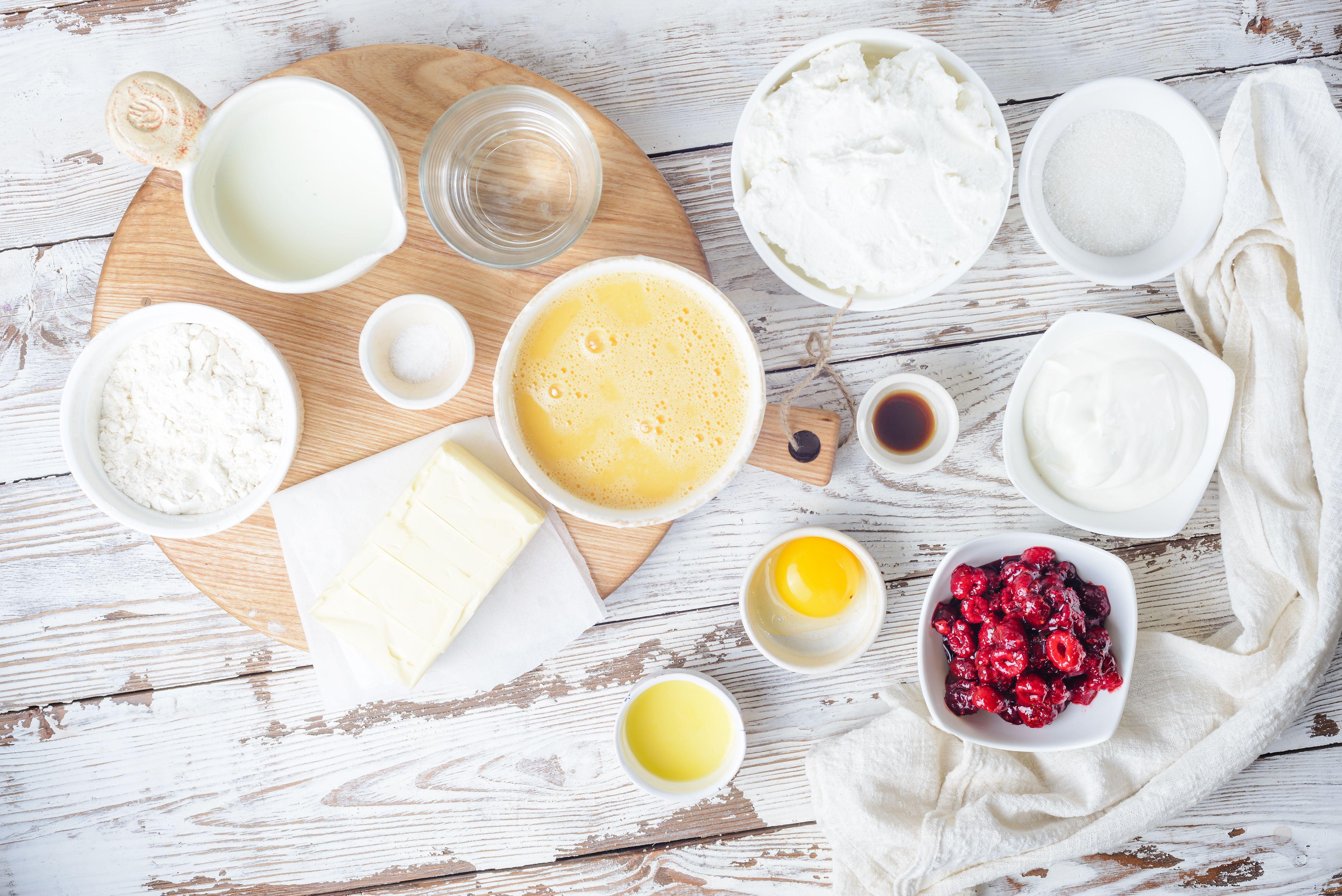 Ingredients for Jewish cheese blintzes