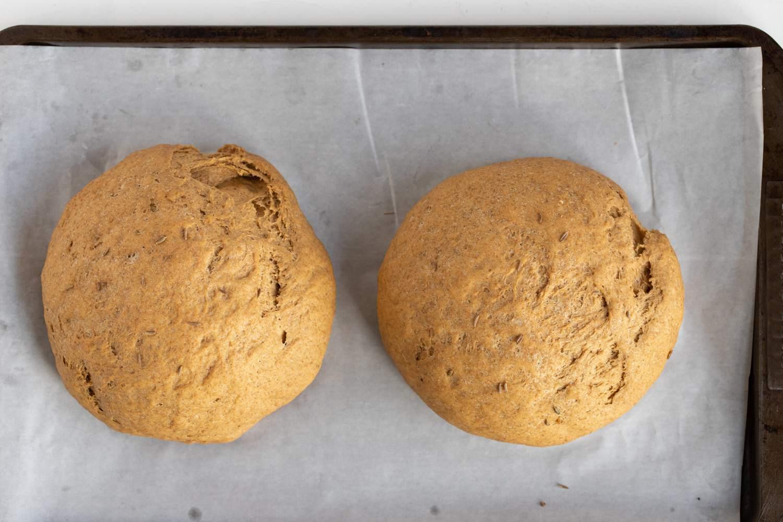 Pumpernickel Bread dough loafs rising