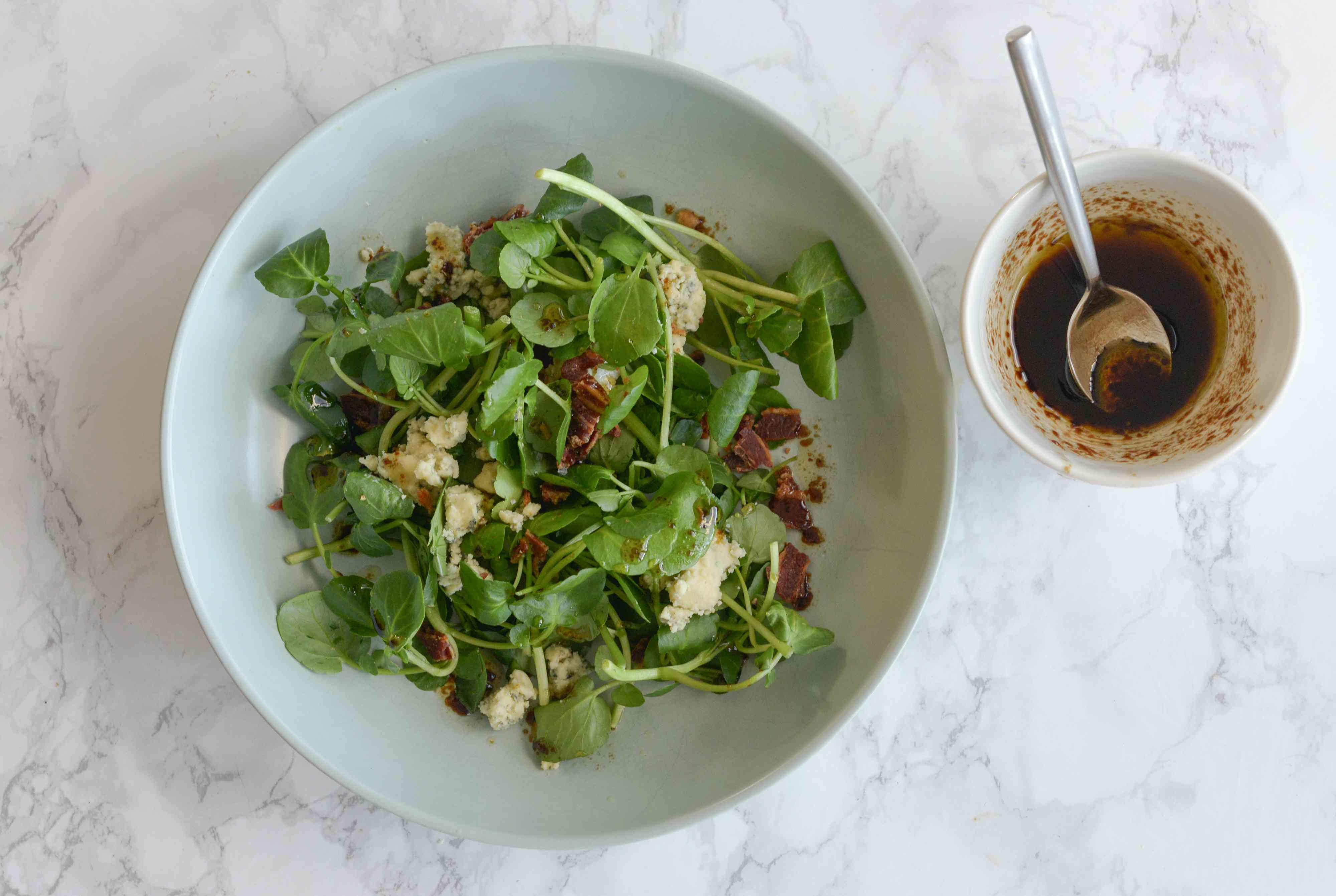 Watercress Salad assemble and dress