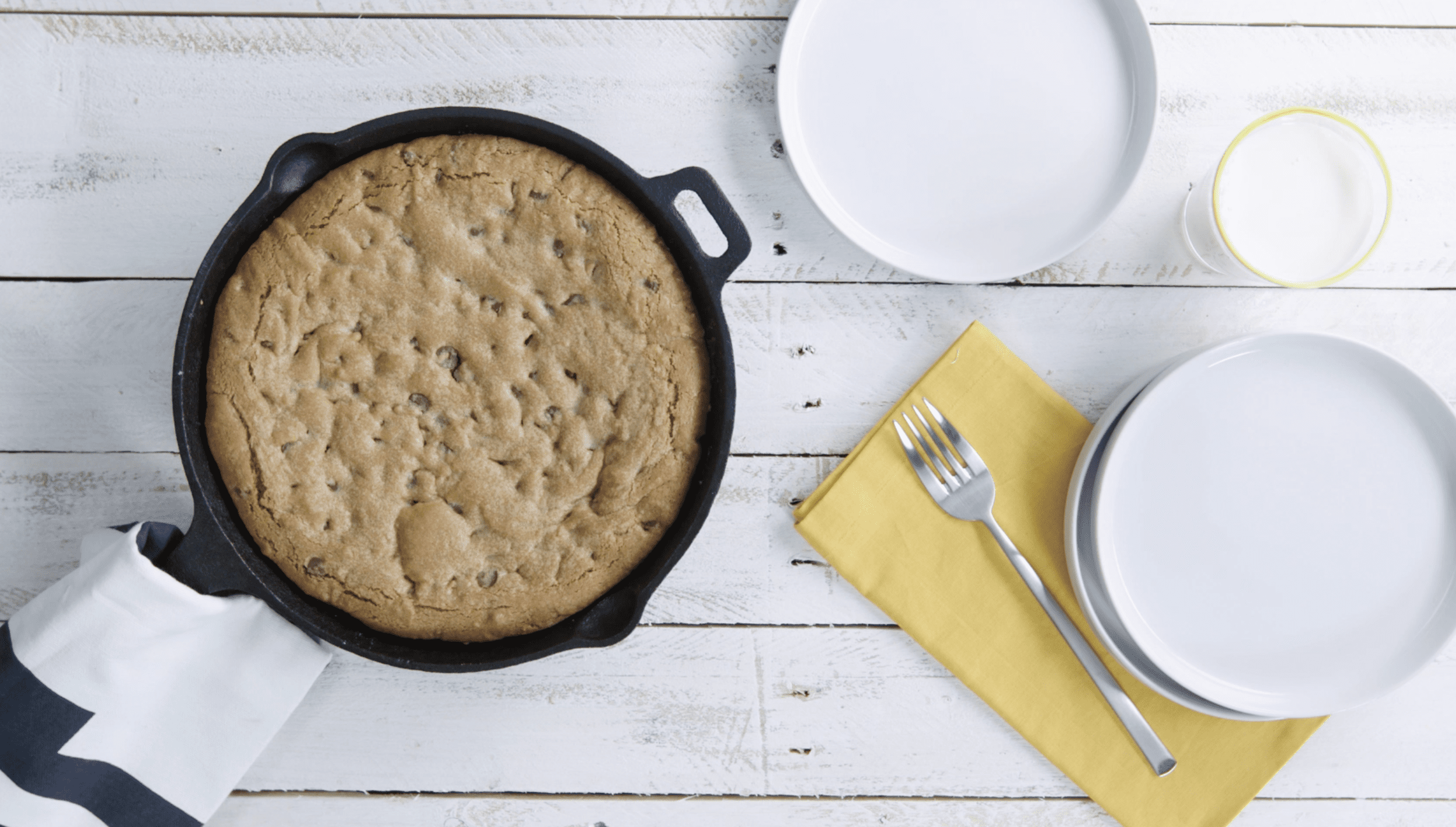 Peanut Butter Stuffed Skillet Cookie