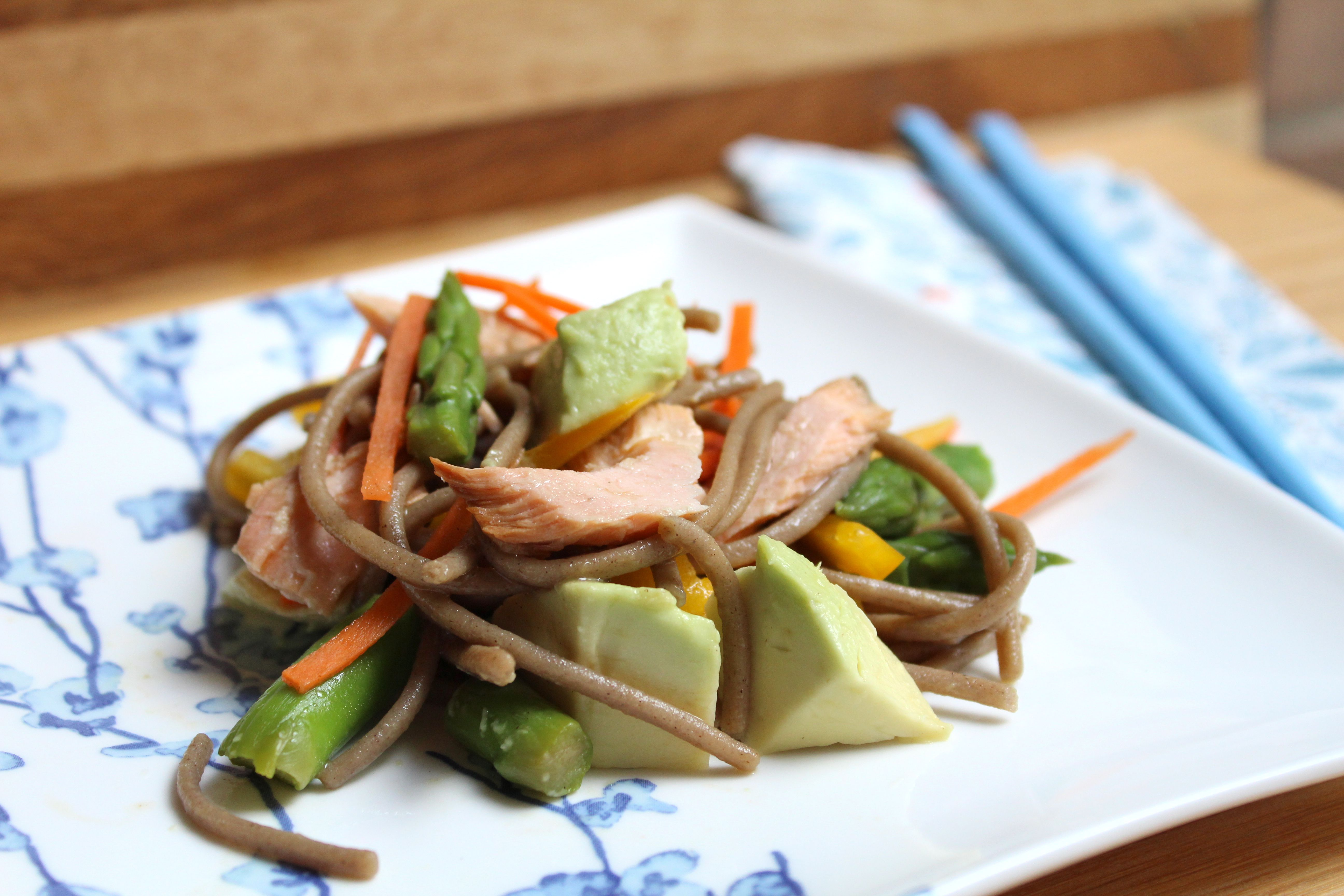 Soba salad with salmon and avocado on a square plate
