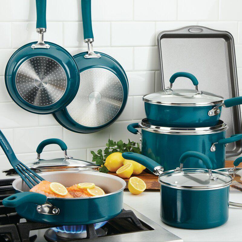 Rachael Ray Create Delicious 13-Piece Aluminum Nonstick Cookware Set